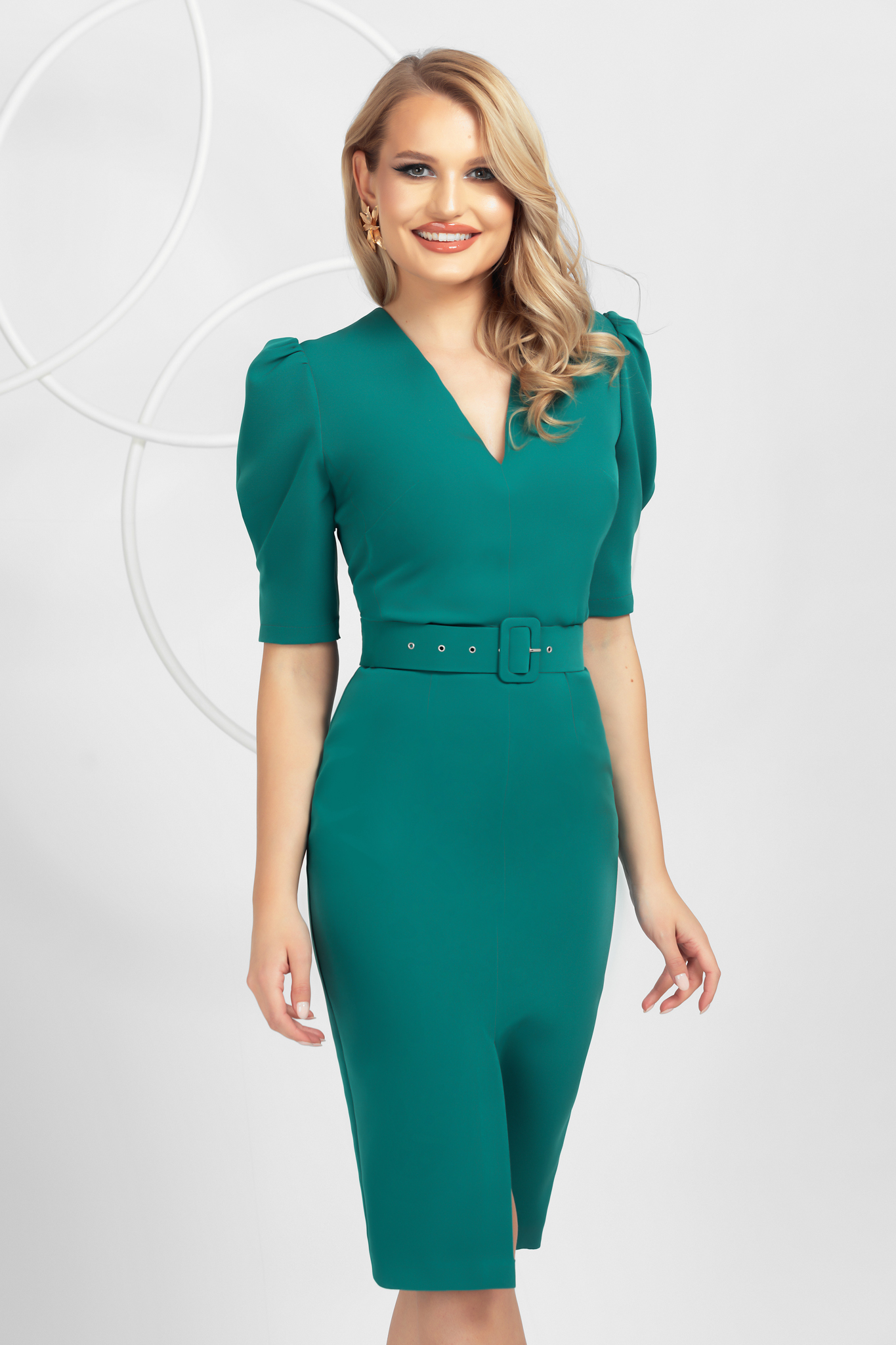 Green pencil midi dress top wrinkled sleeves frontal slit