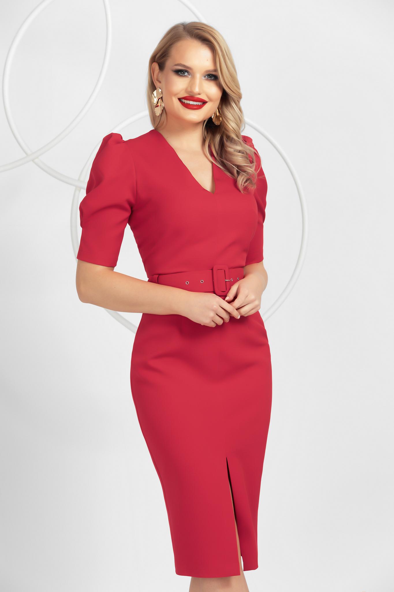 Red pencil midi dress top wrinkled sleeves frontal slit
