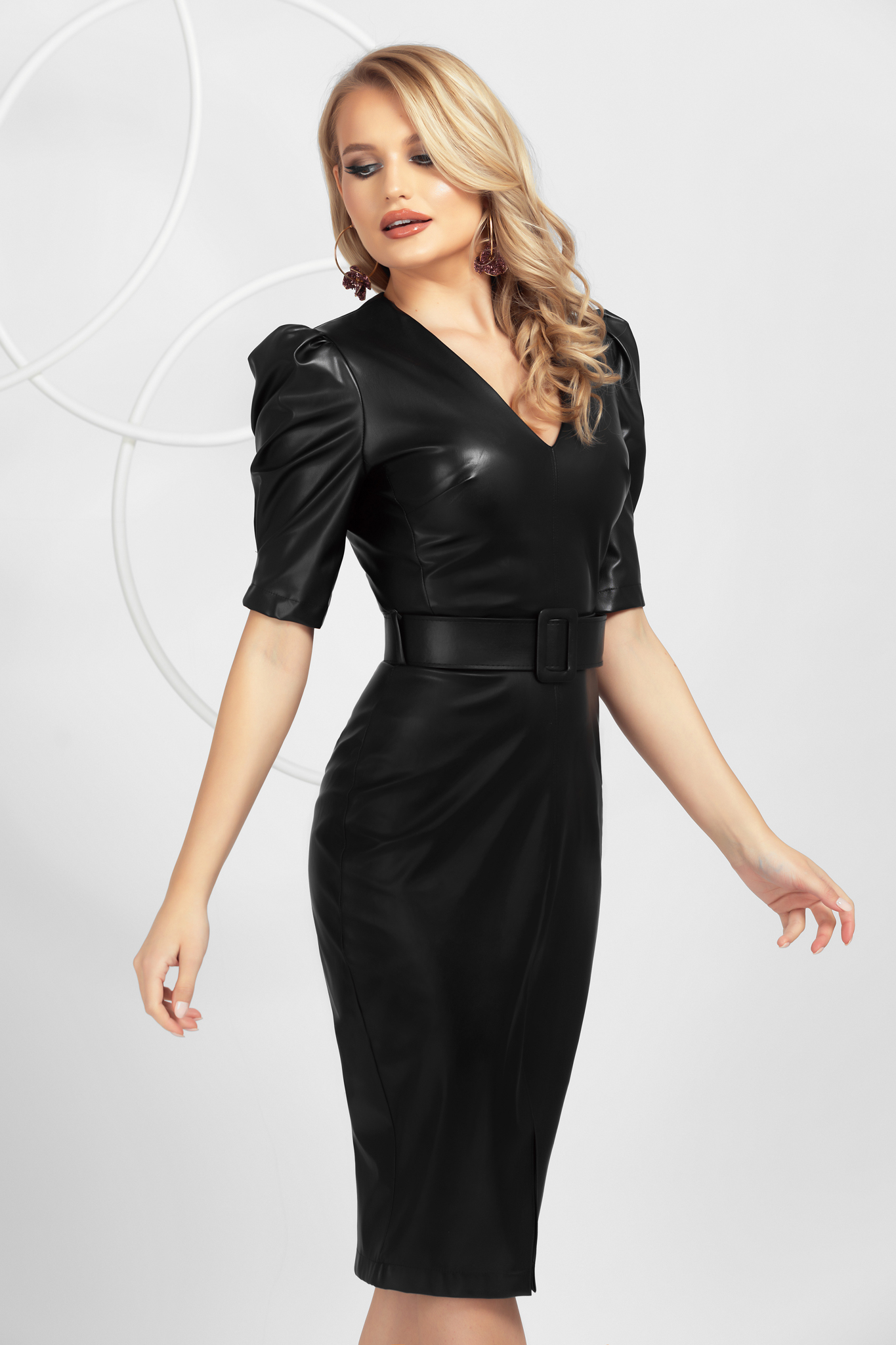 Black pencil from ecological leather dress top wrinkled sleeves frontal slit