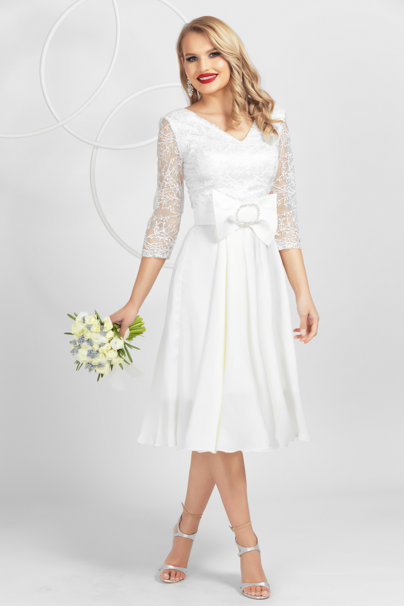 White from satin lace overlay dress elegant bow accessory genuine swarovski crystals