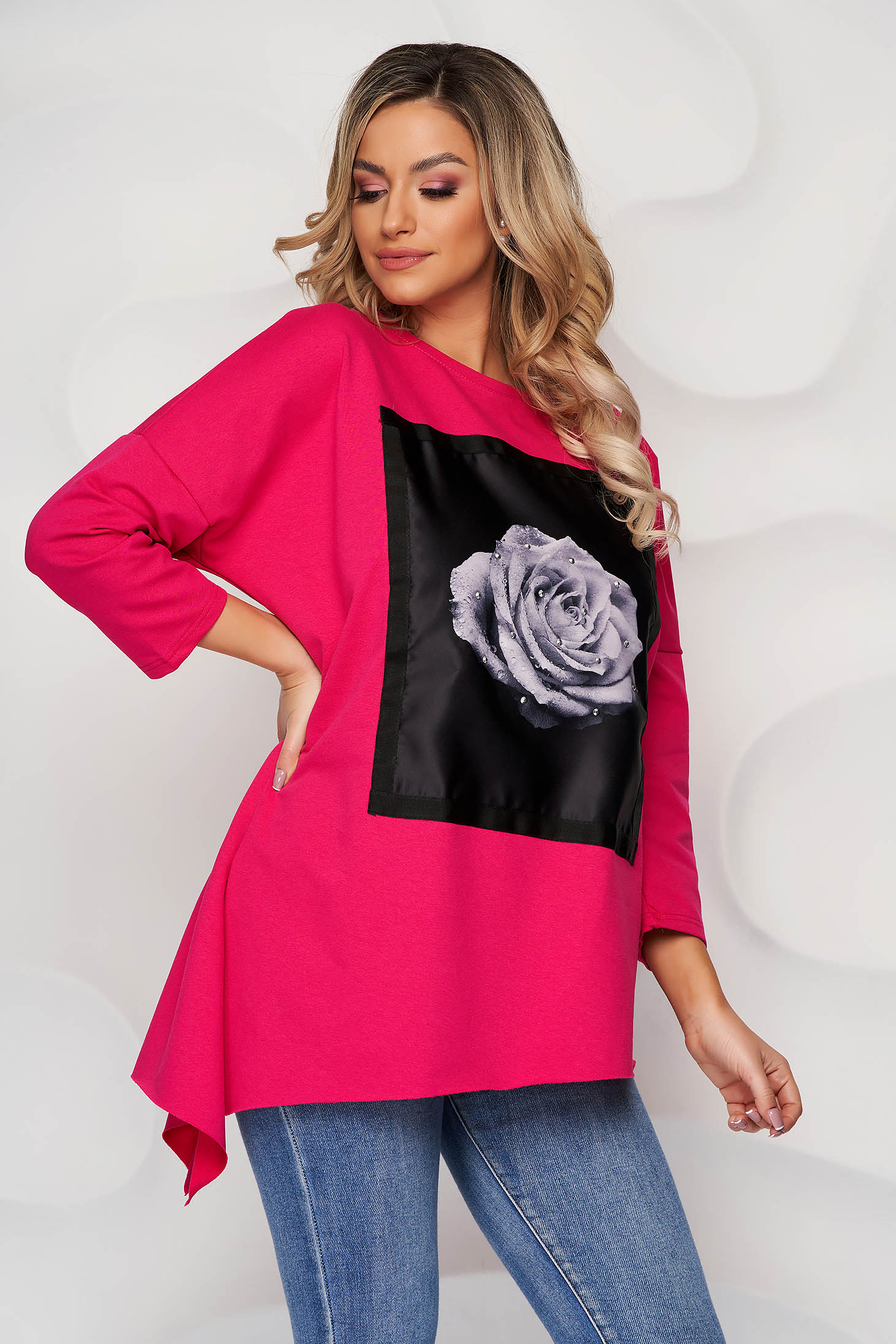 Pink women`s blouse cotton with crystal embellished details with graphic details