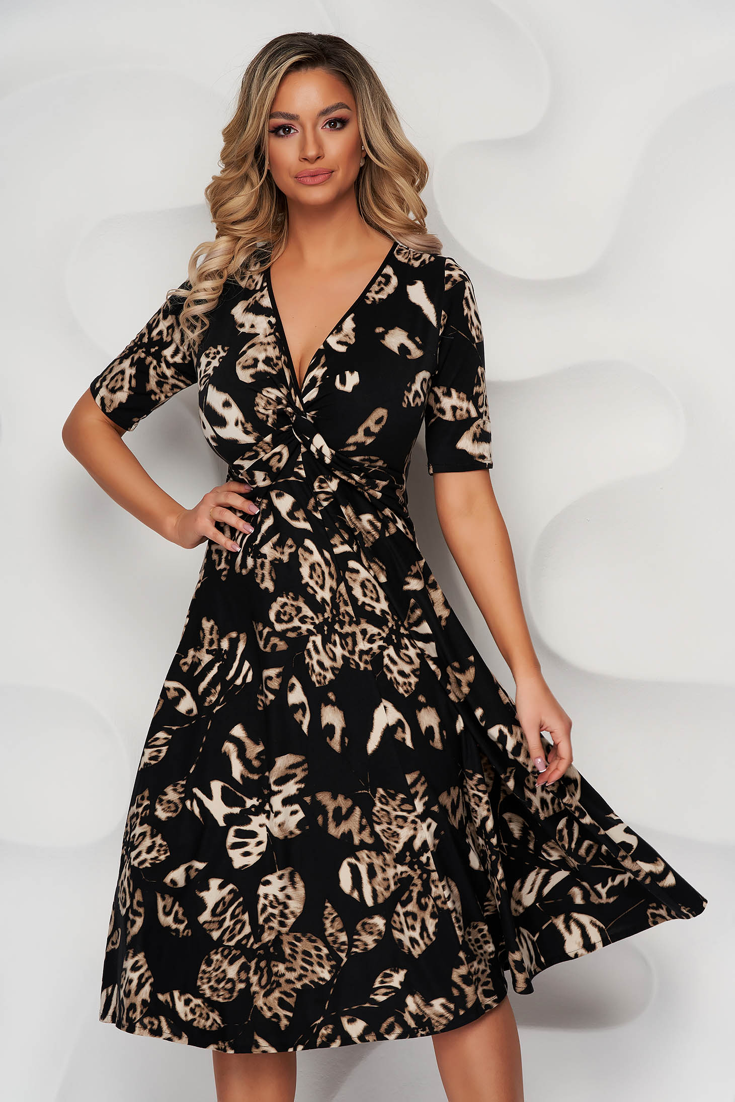 Black dress from elastic fabric with v-neckline