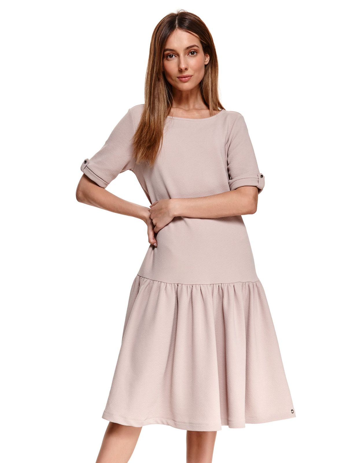 From elastic fabric with ruffle details loose fit peach dress