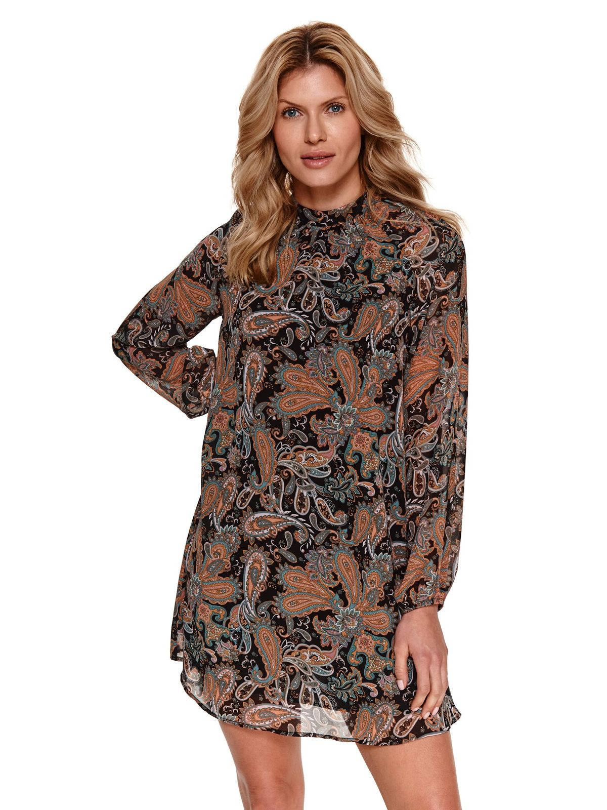 With turtle neck loose fit from veil fabric with floral print dress