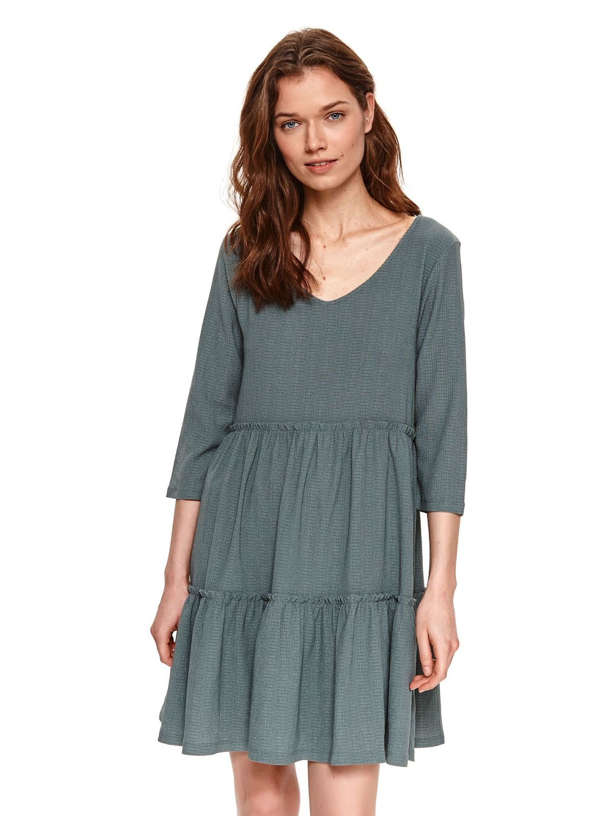 Green dress loose fit casual with ruffle details with v-neckline