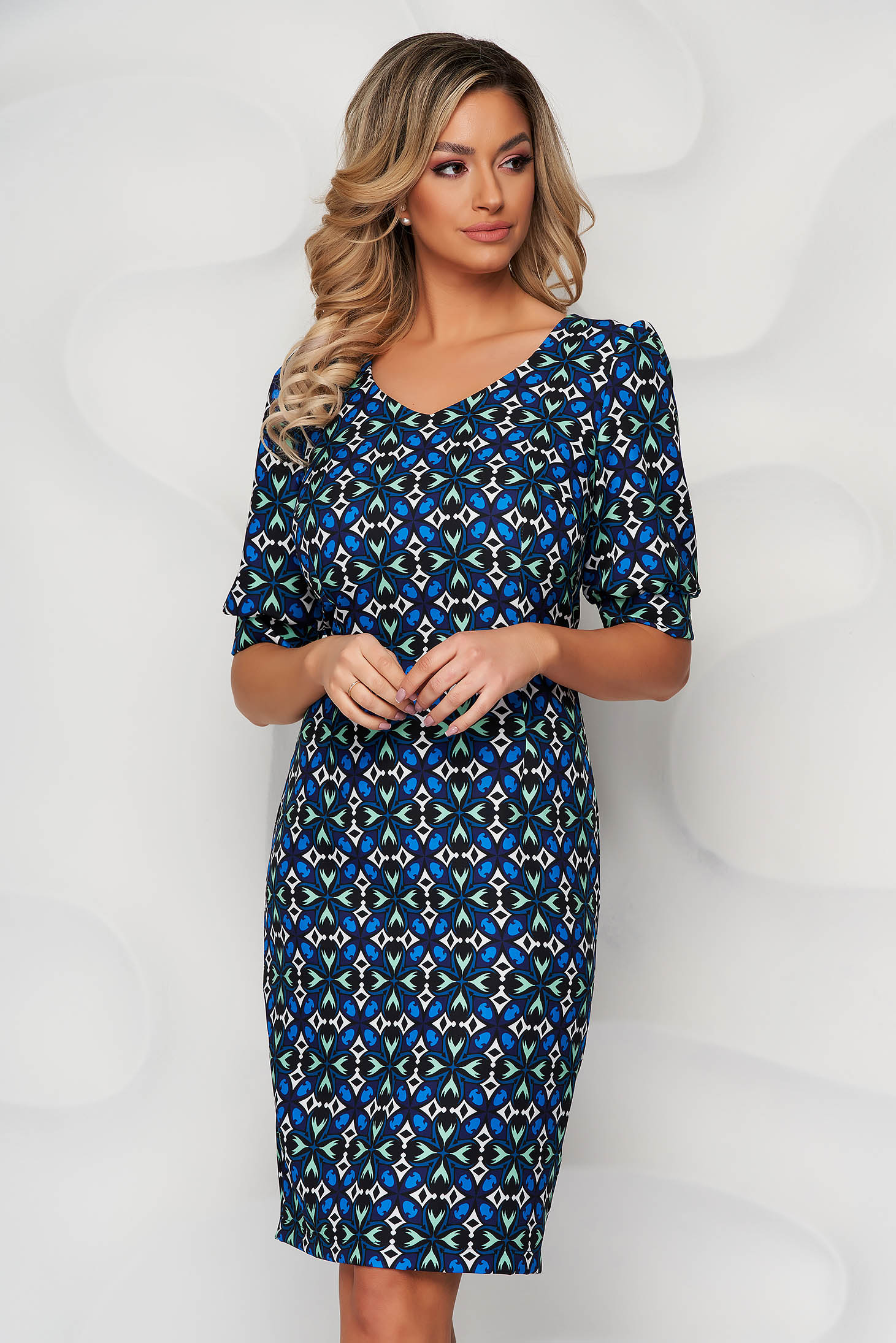 StarShinerS blue dress with graphic details pencil midi with puffed sleeves