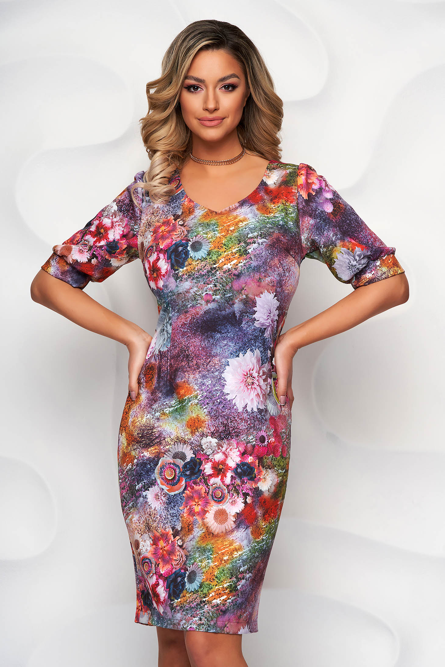 StarShinerS pink dress with floral print pencil with puffed sleeves