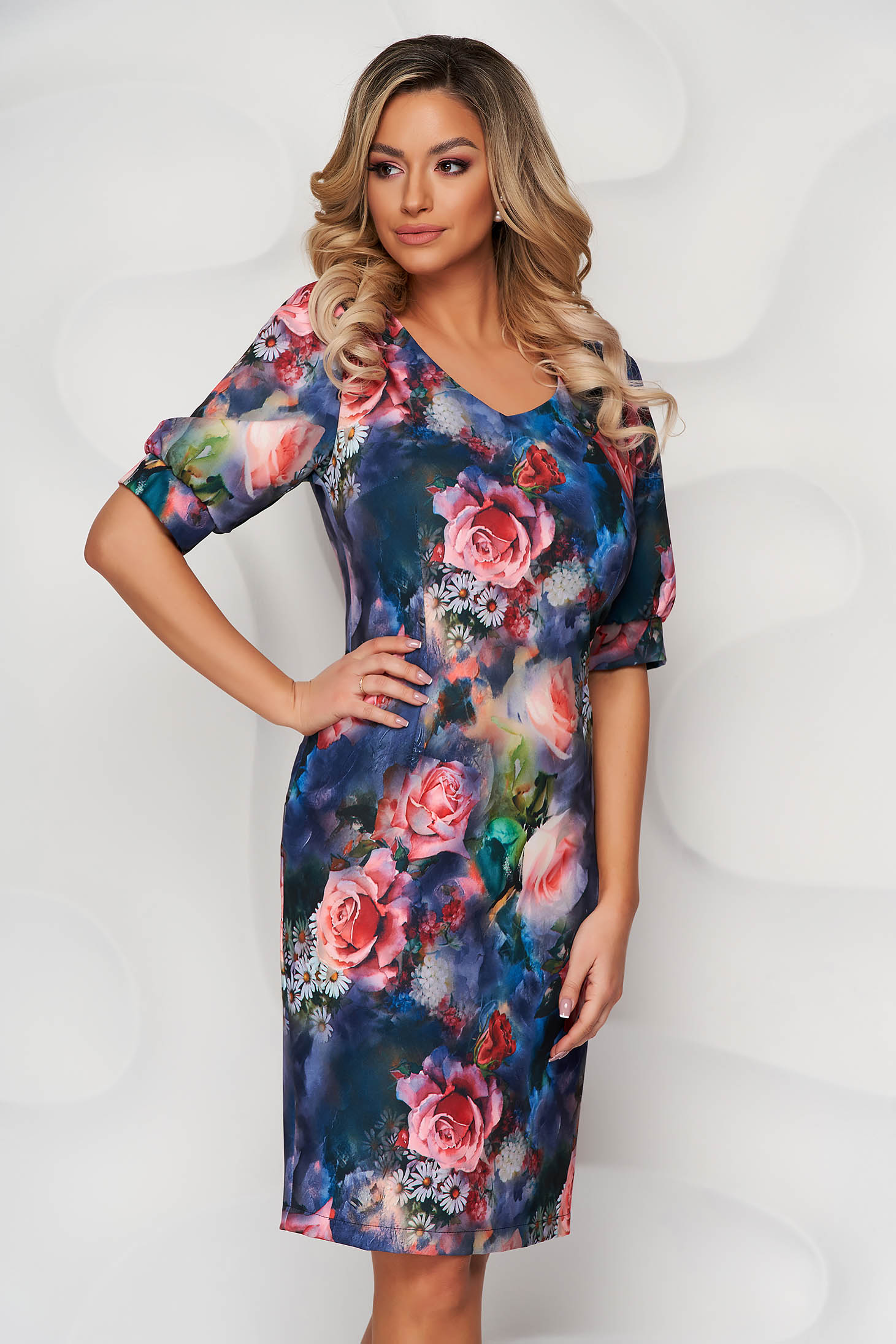 StarShinerS blue dress with floral print pencil with puffed sleeves