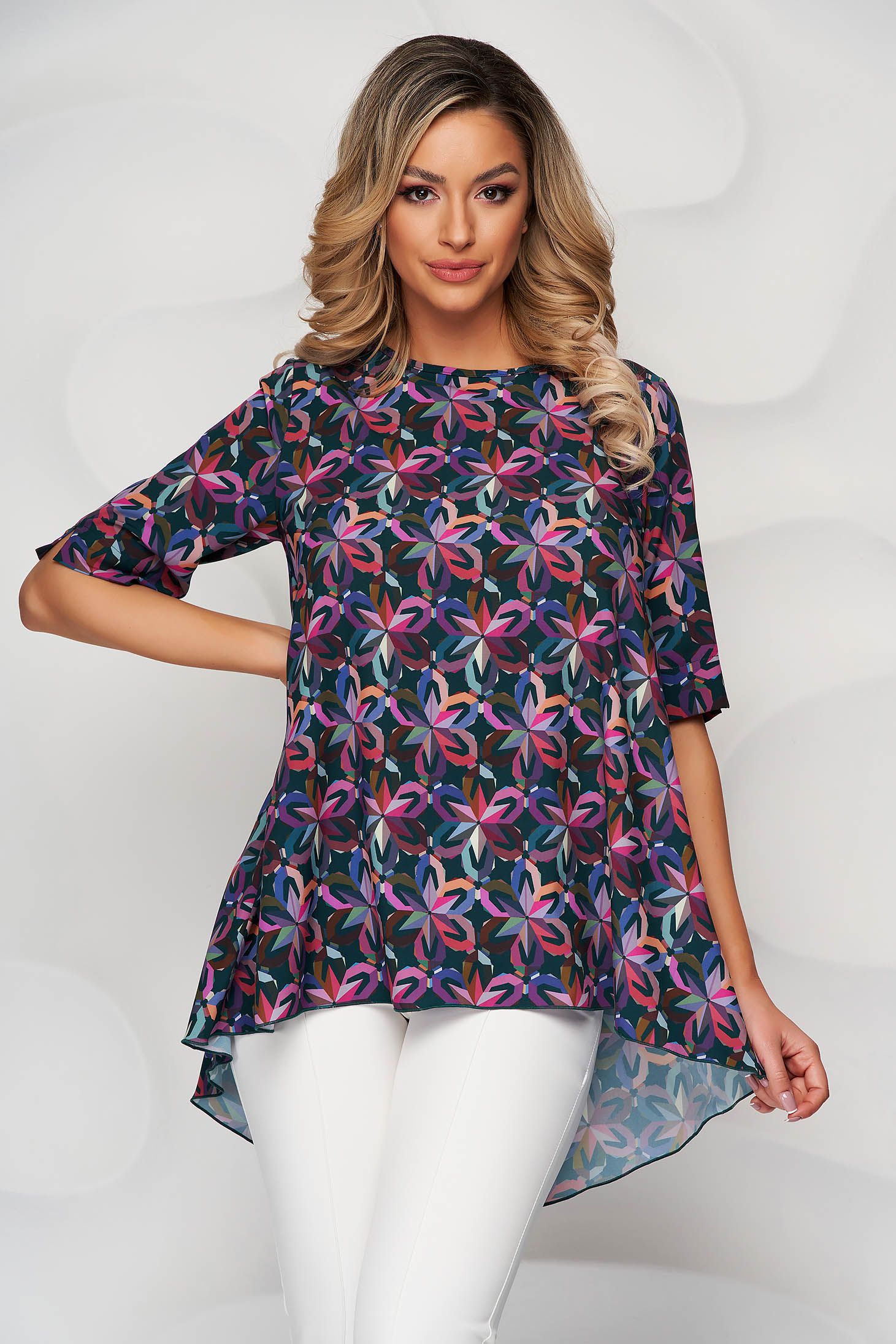 StarShinerS green with floral print loose fit asymmetrical women`s blouse nonelastic fabric