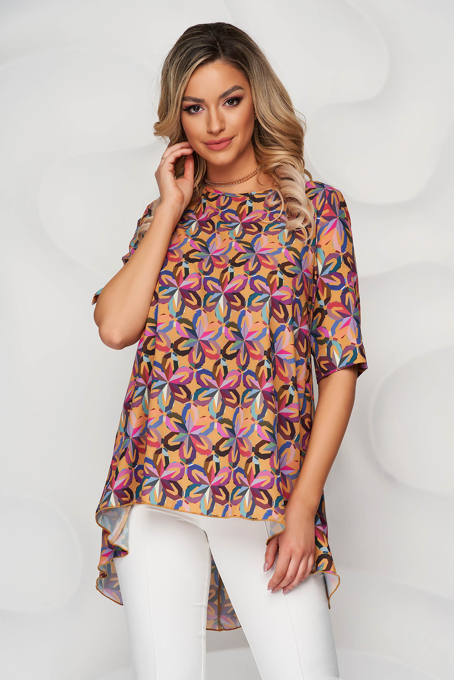 StarShinerS mustard with floral print loose fit asymmetrical women`s blouse nonelastic fabric