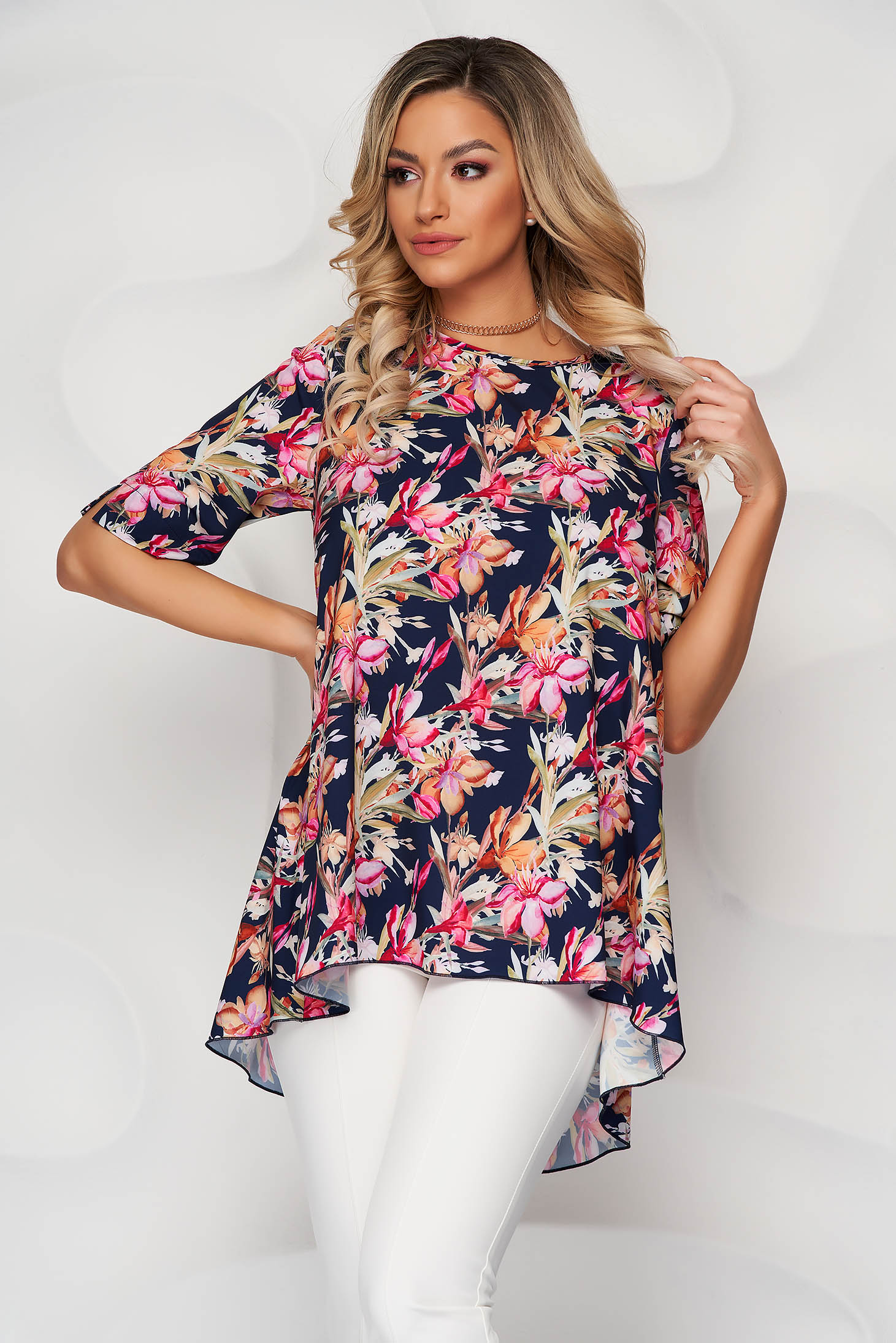StarShinerS darkblue loose fit asymmetrical women`s blouse