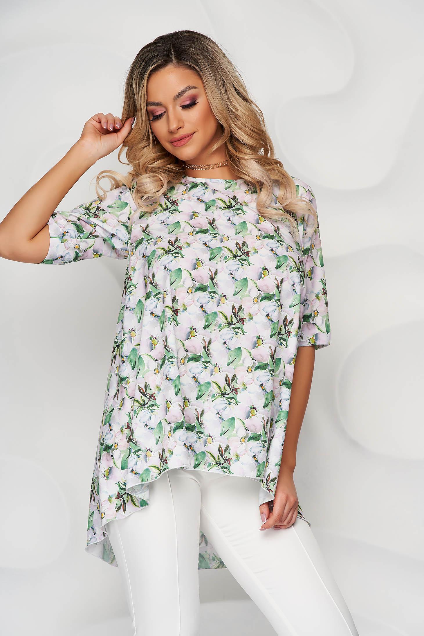 Bluza dama StarShinerS verde din material soft cu croi larg asimetrica