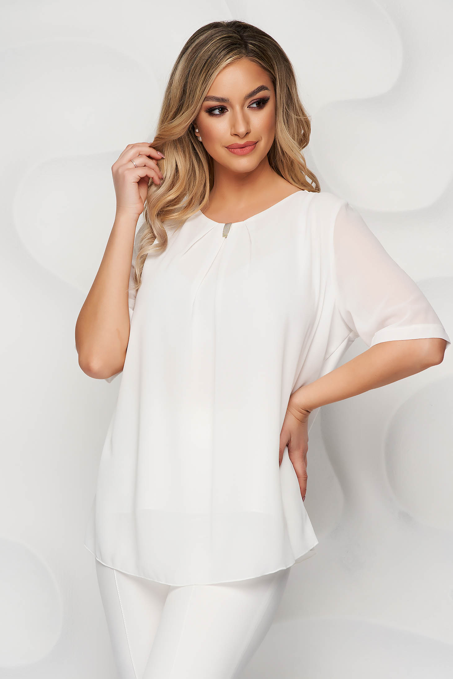White women`s blouse office short cut from veil fabric short sleeves