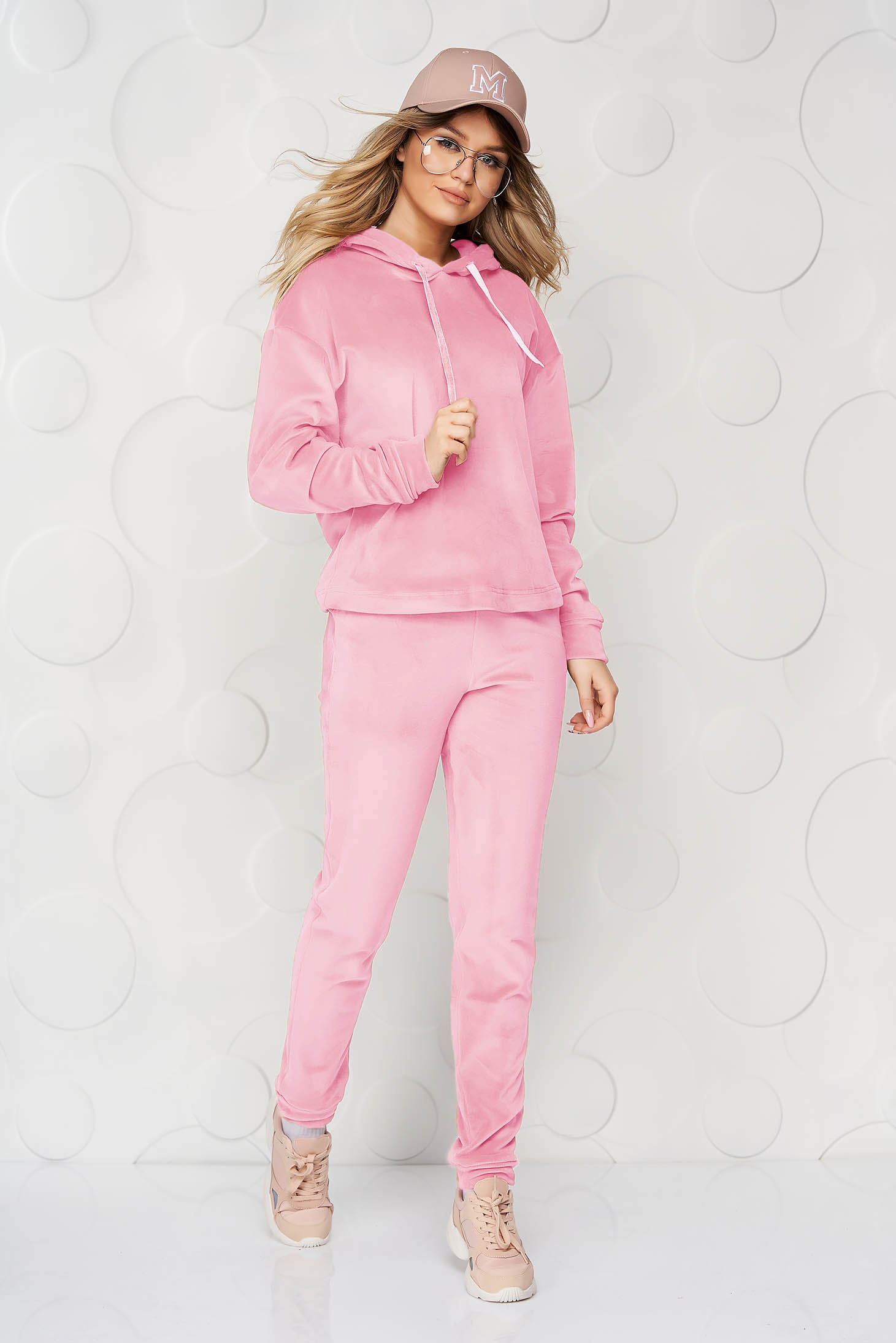 Pink sport 2 pieces 2 pieces loose fit with undetachable hood