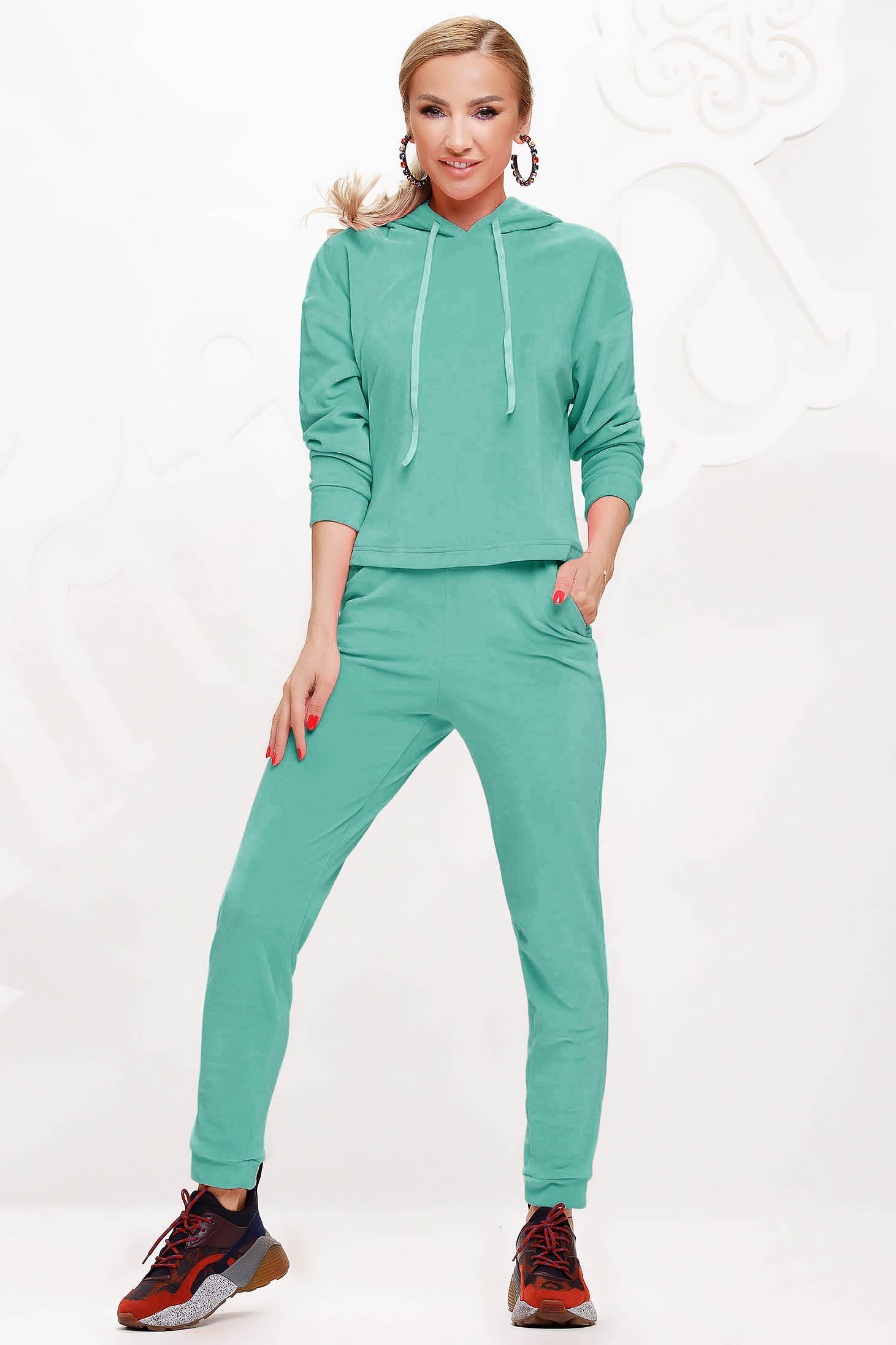 Mint sport 2 pieces 2 pieces loose fit with undetachable hood