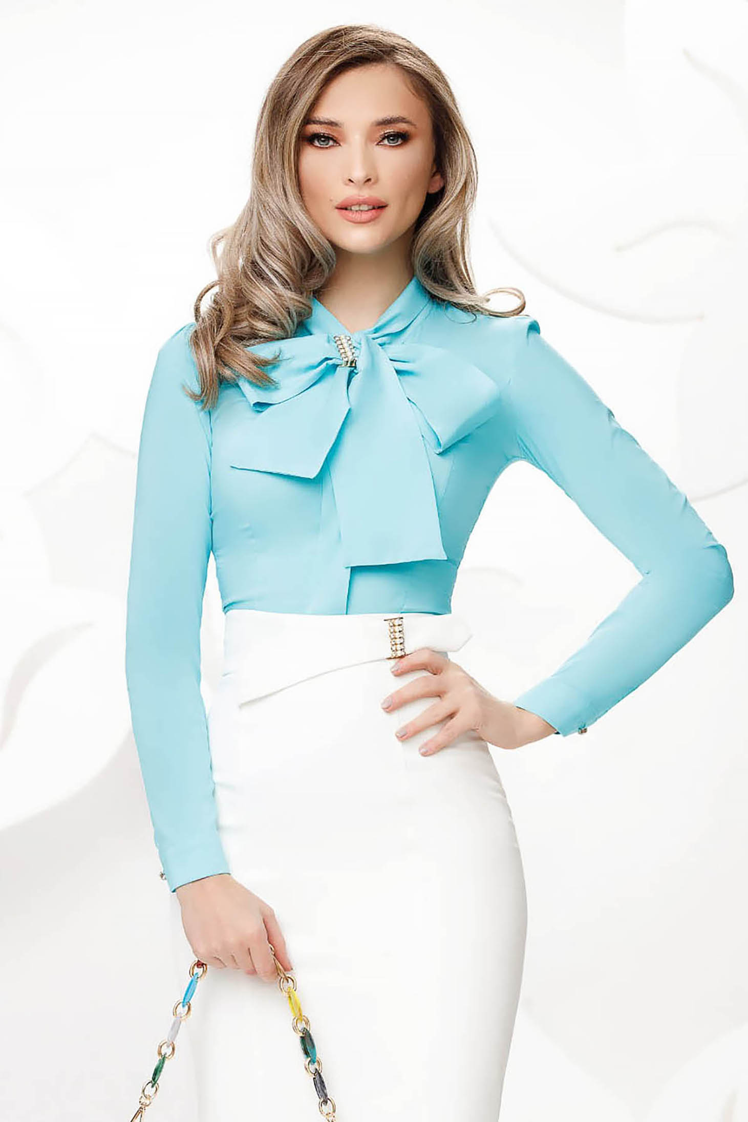 Women`s shirt turquoise office with tented cut slightly elastic cotton with bow