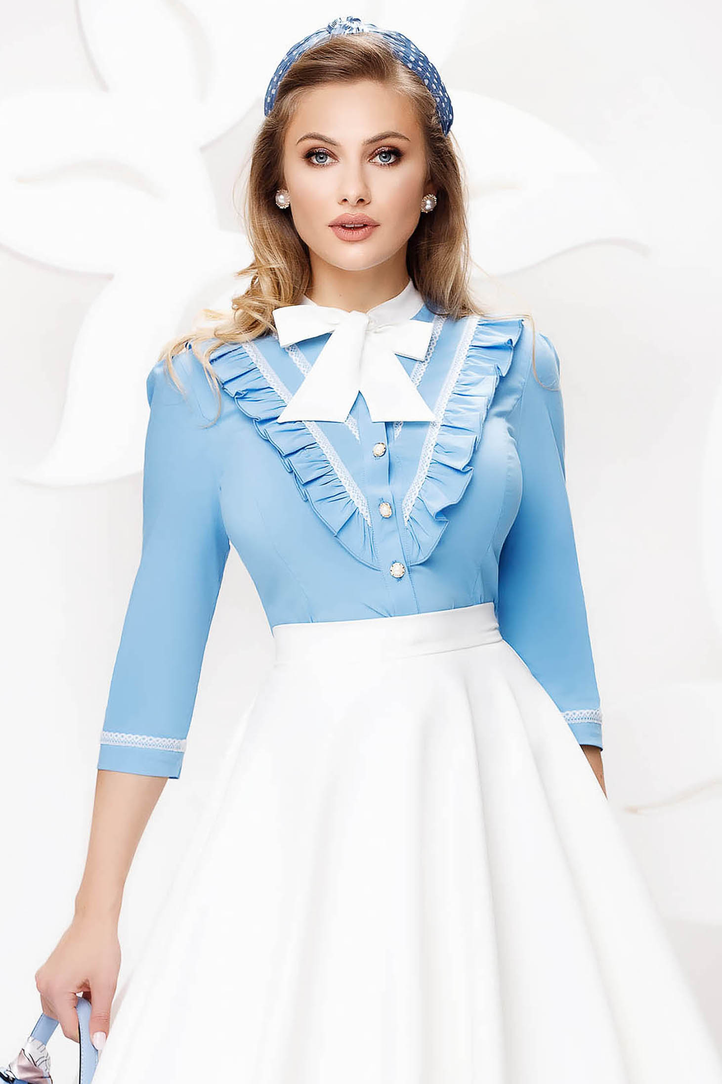 Camasa dama Fofy albastra-deschis office din bumbac usor elastic cu volanase