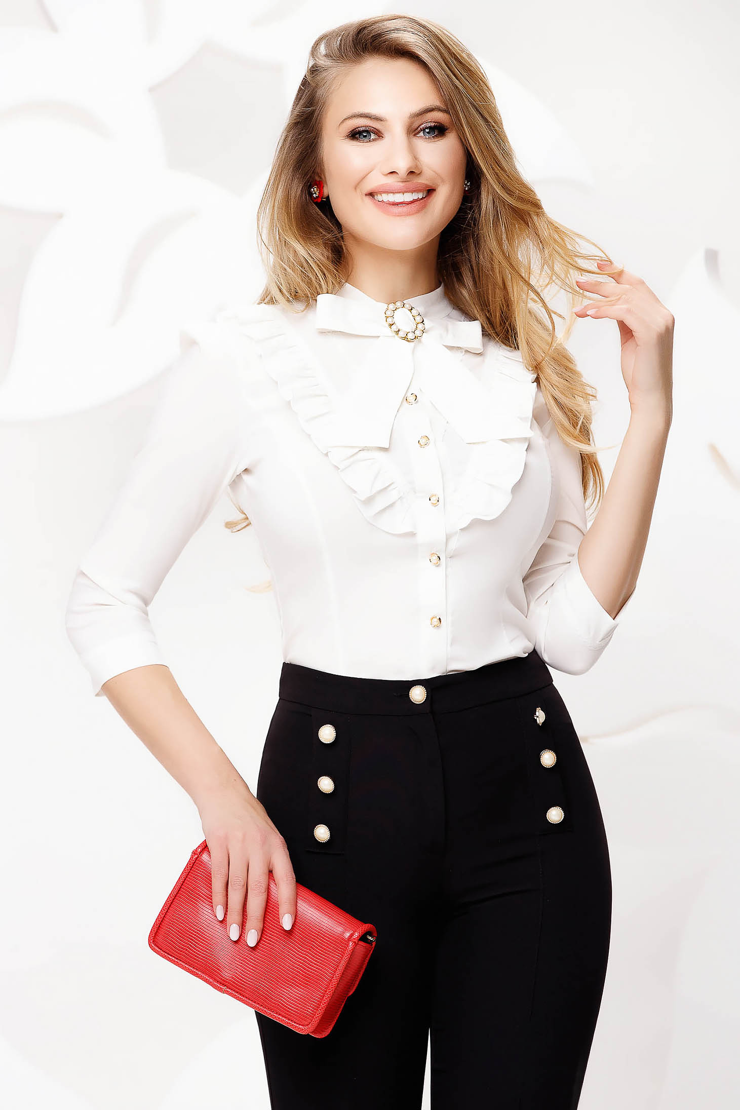 White women`s shirt office slightly elastic cotton with ruffle details