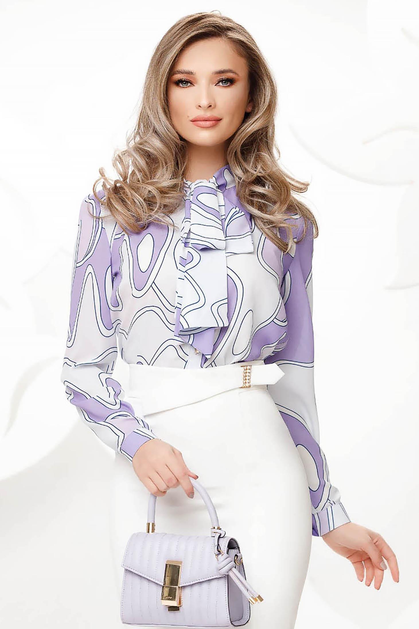 Bluza dama Fofy alba din voal accesorizata cu o fundita maxi