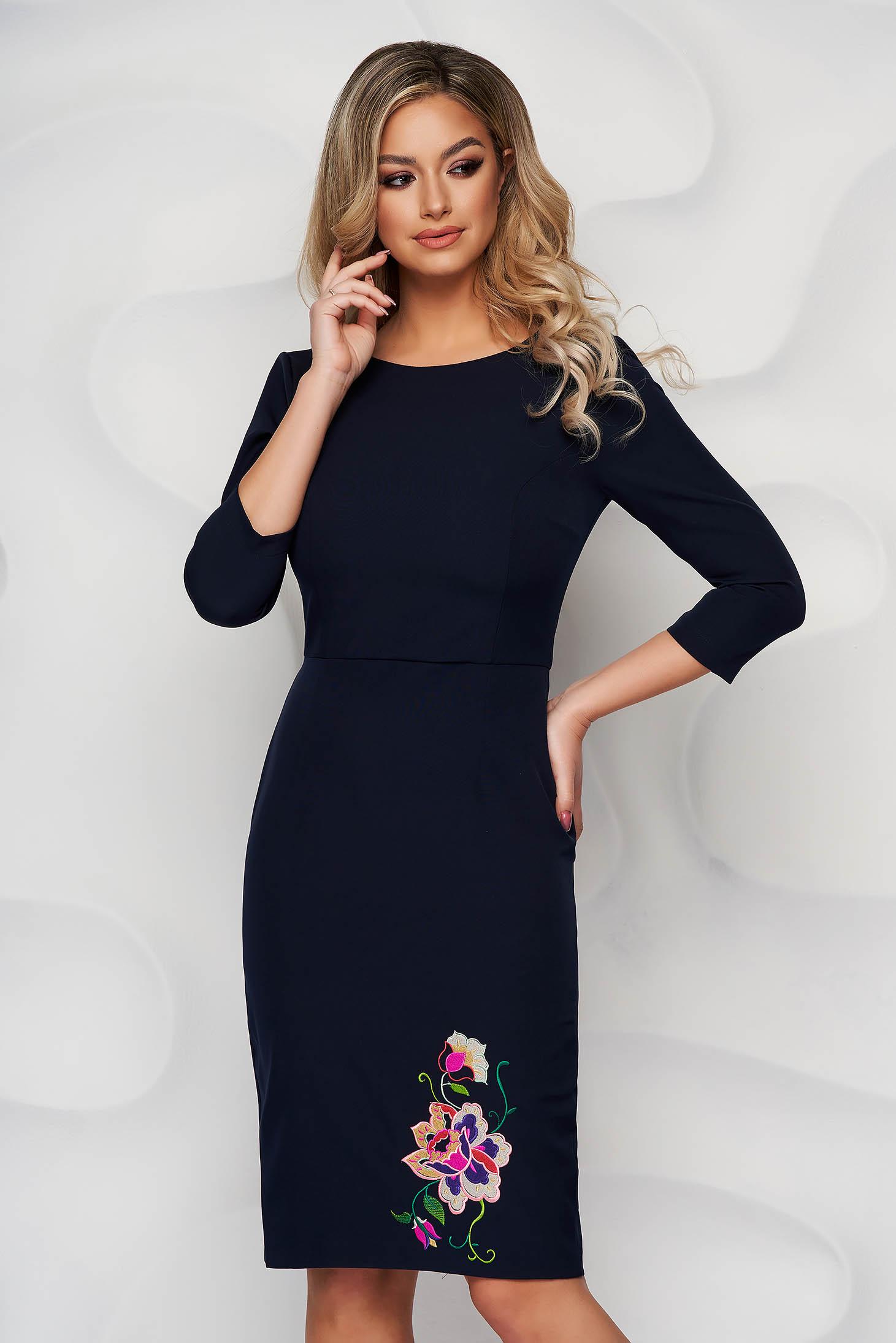 StarShinerS darkblue dress embroidered pencil midi slightly elastic fabric