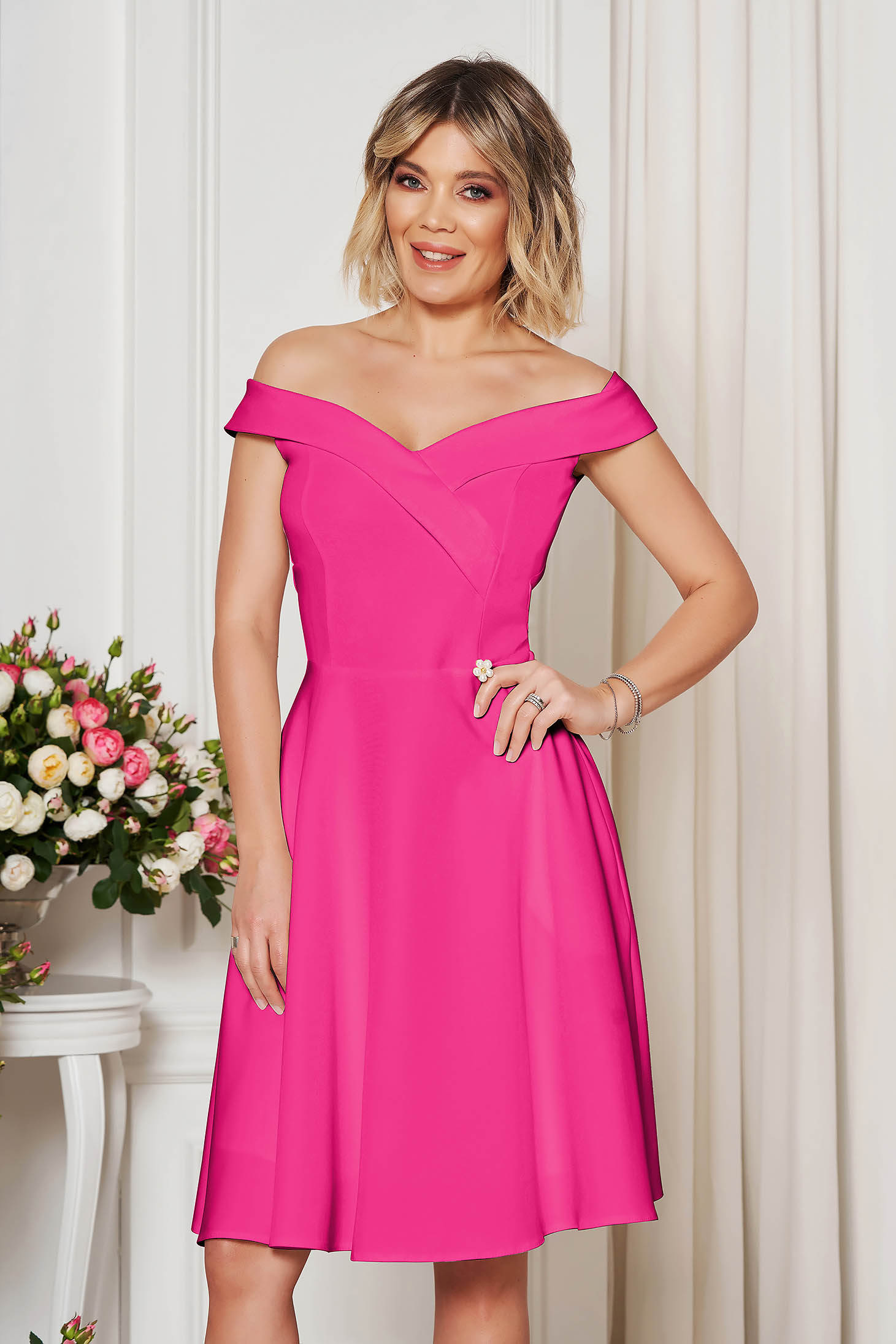 StarShinerS fuchsia occasional elegant cloche dress with a cleavage off-shoulder flexible thin fabric/cloth