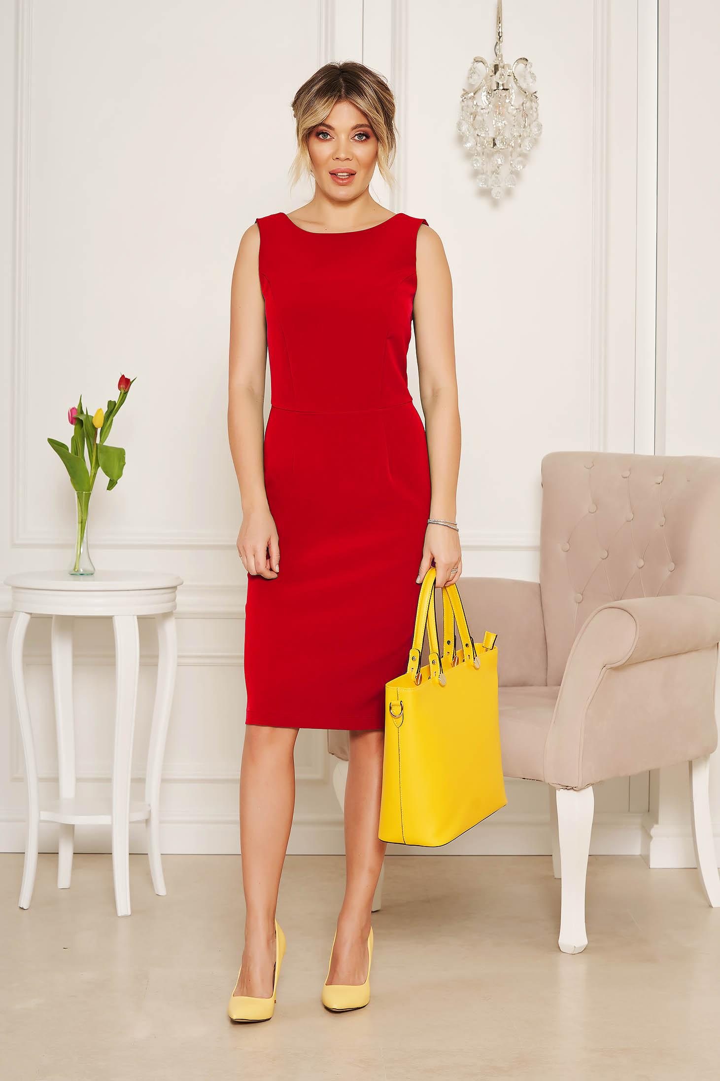 Rochie StarShinerS rosie eleganta midi tip creion din stofa cu spatele decupat