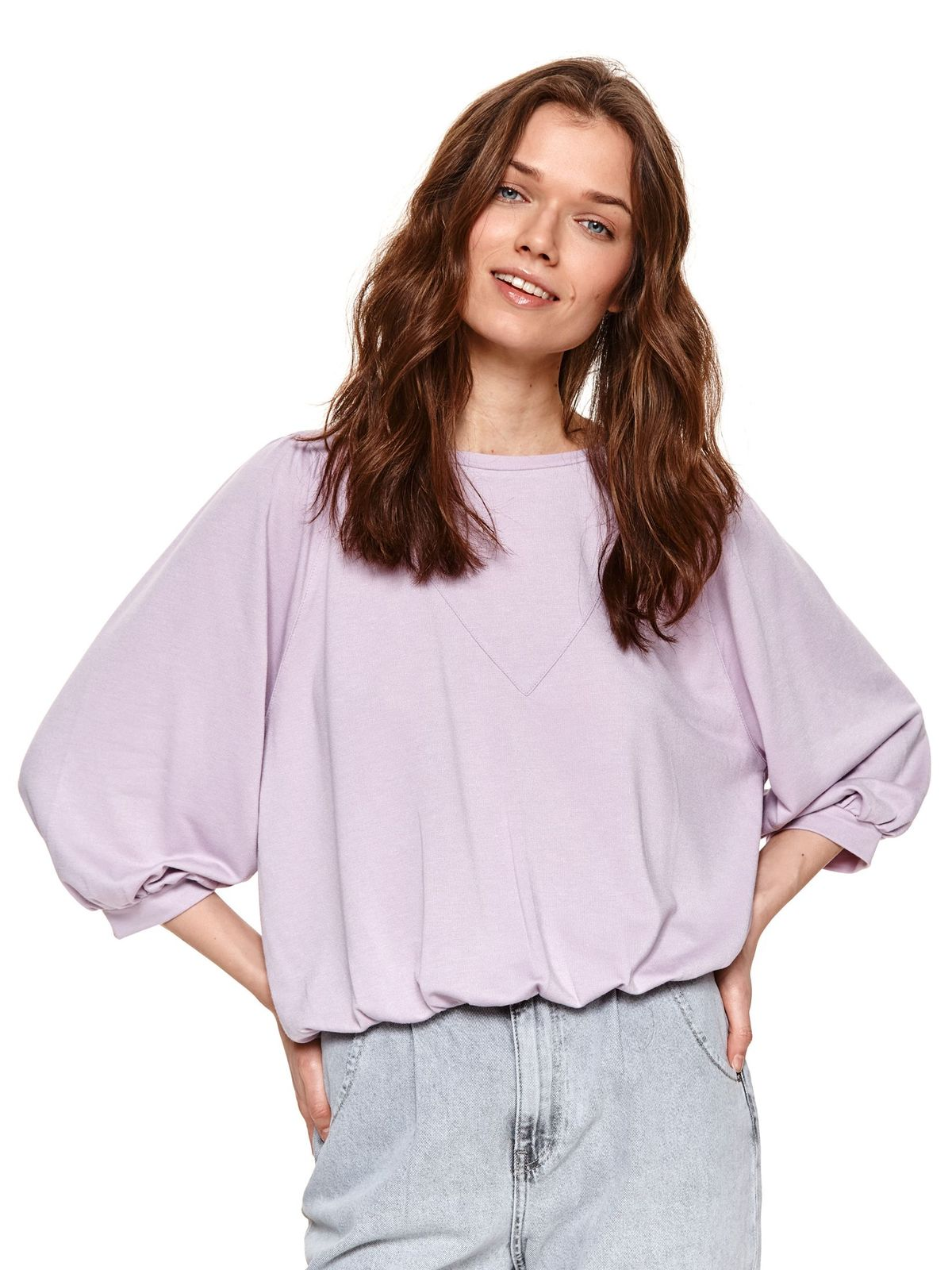 Bluza dama Top Secret mov cu croi larg si maneci trei-sferturi