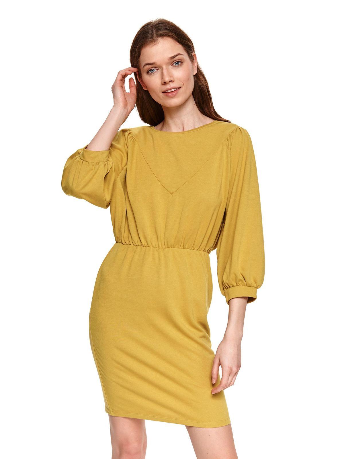 Yellow dress short cut pencil large sleeves