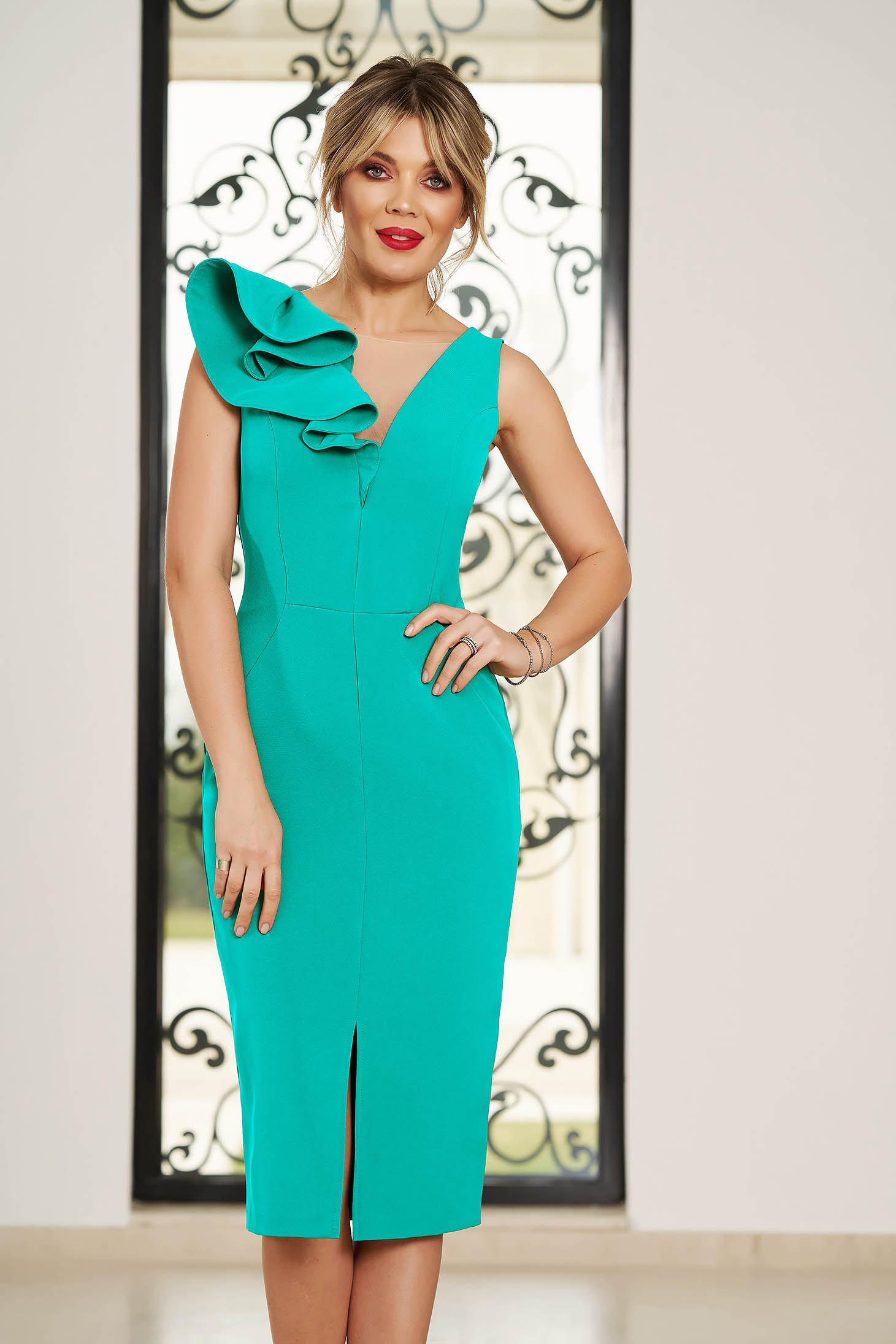 StarShinerS turquoise occasional dress slightly elastic fabric with ruffle details midi pencil