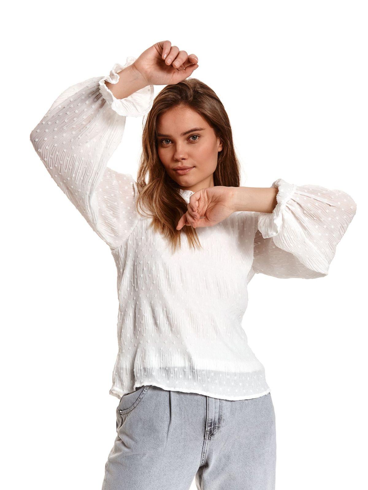 Ivory women`s blouse loose fit thin fabric plumeti