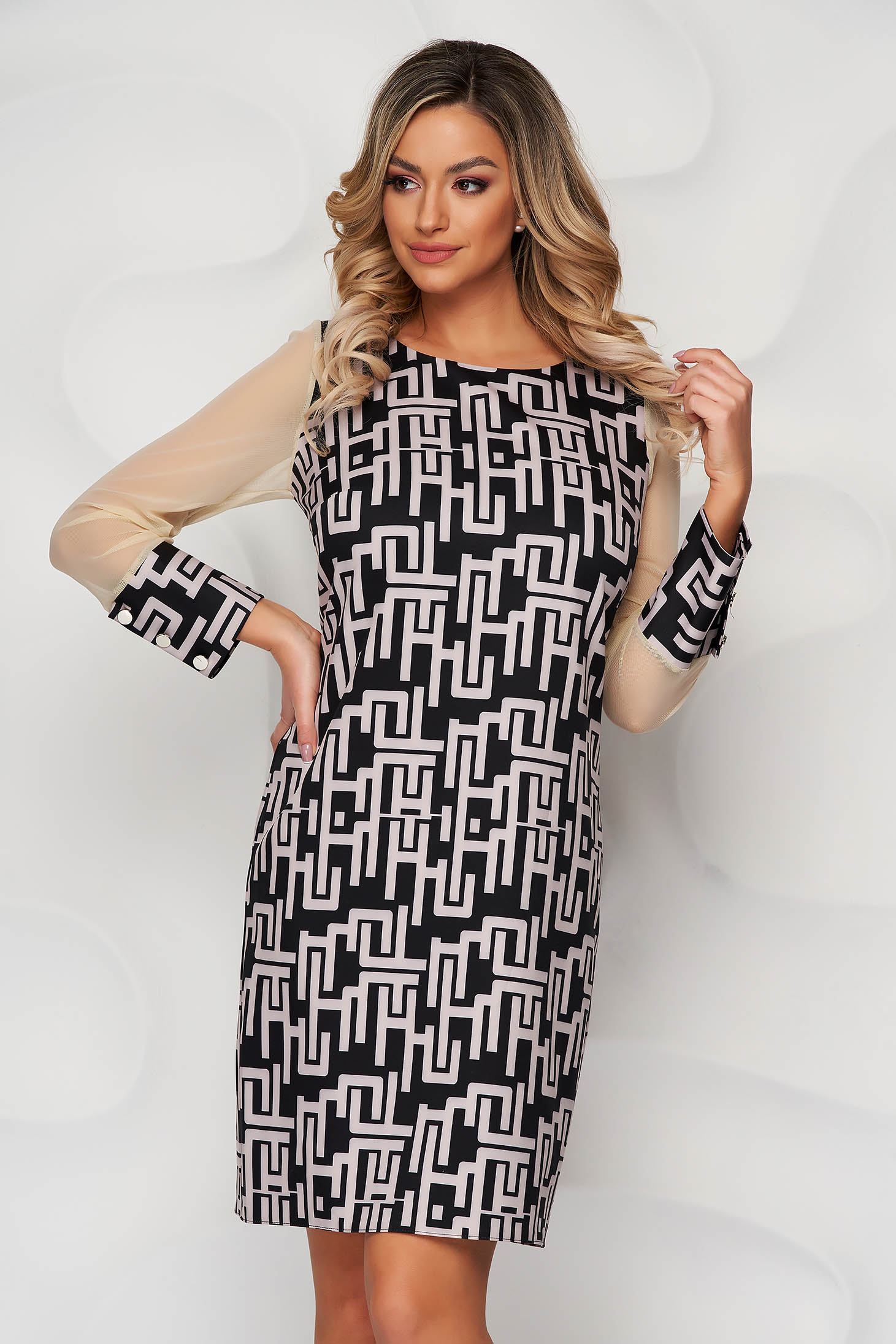 With graphic details office straight transparent sleeves cream dress