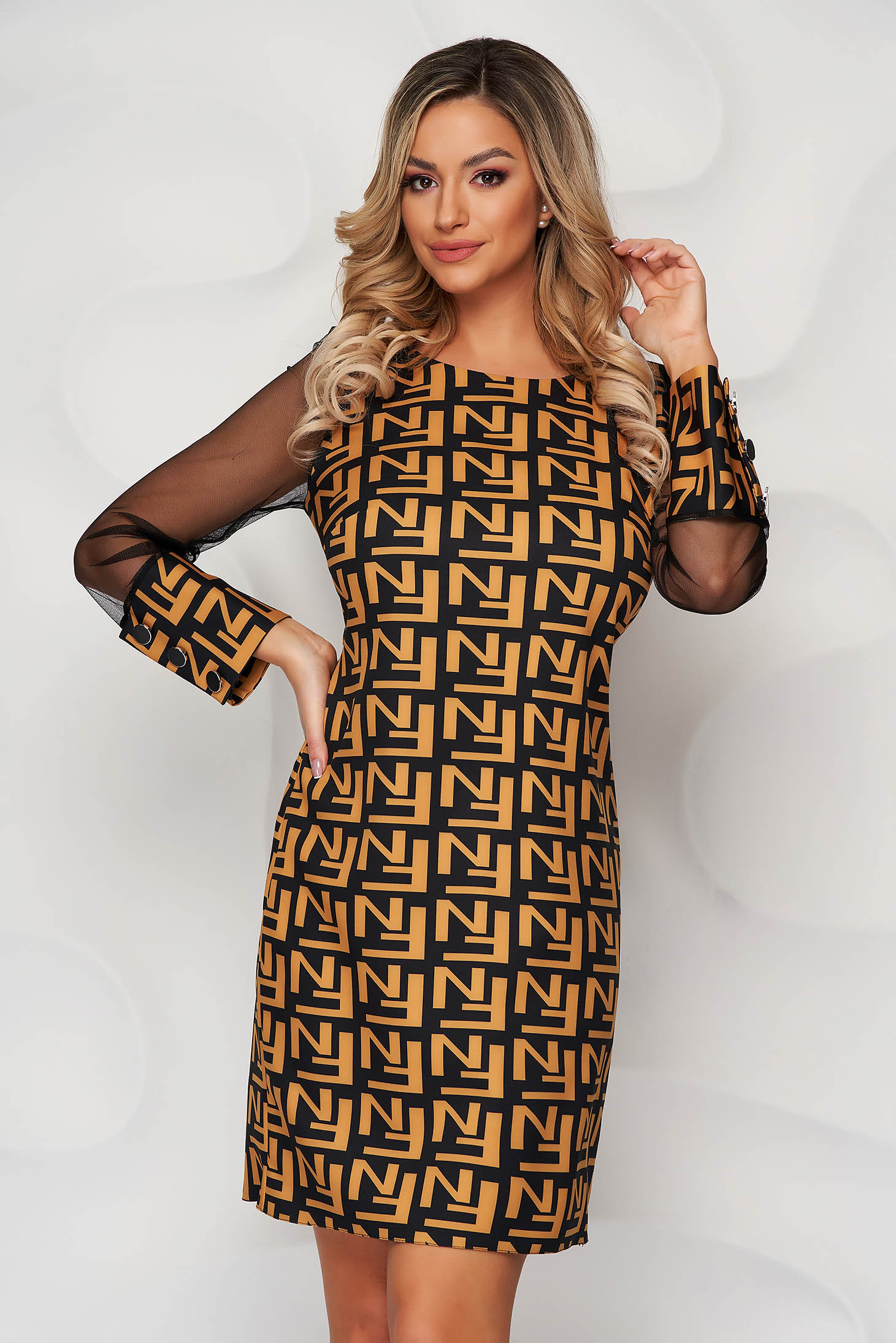 With graphic details office straight transparent sleeves yellow dress