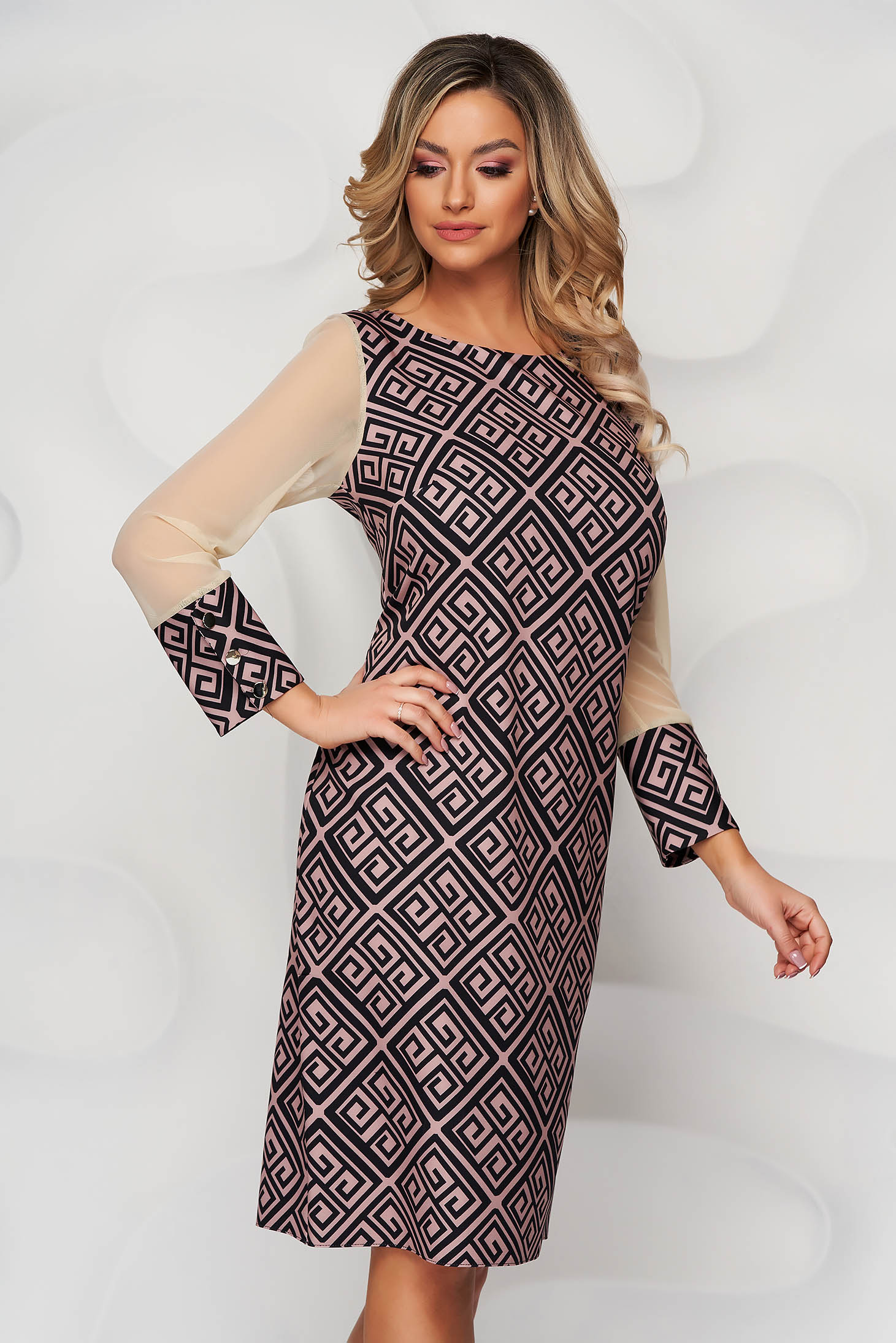 With graphic details office straight transparent sleeves pink dress