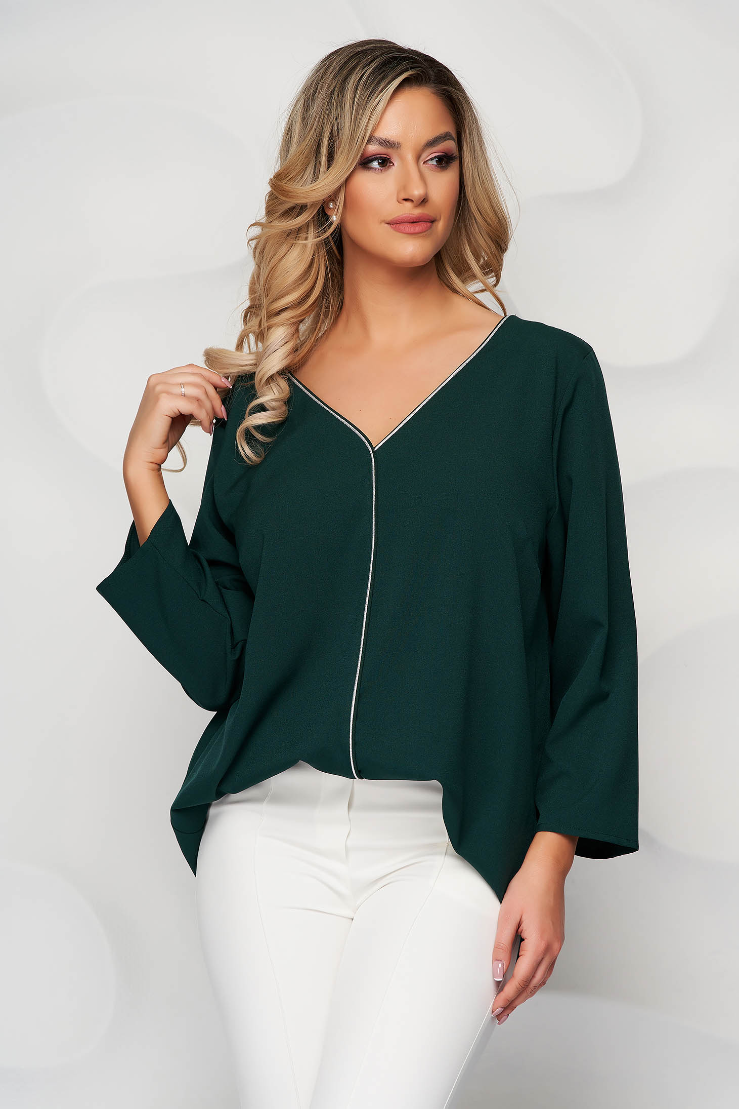 Dirty green women`s blouse v back neckline with glitter details loose fit
