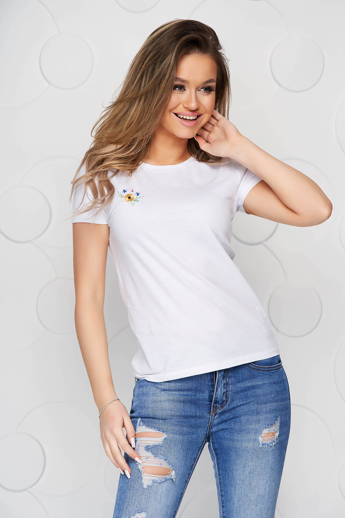 White StarShinerS t-shirt cotton loose fit