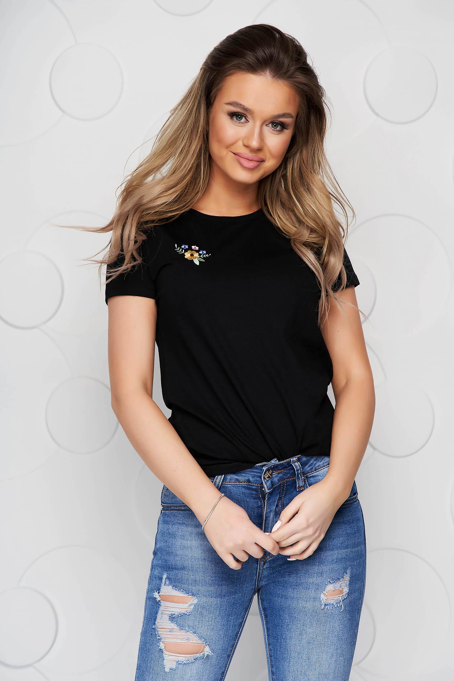 Black StarShinerS t-shirt cotton loose fit