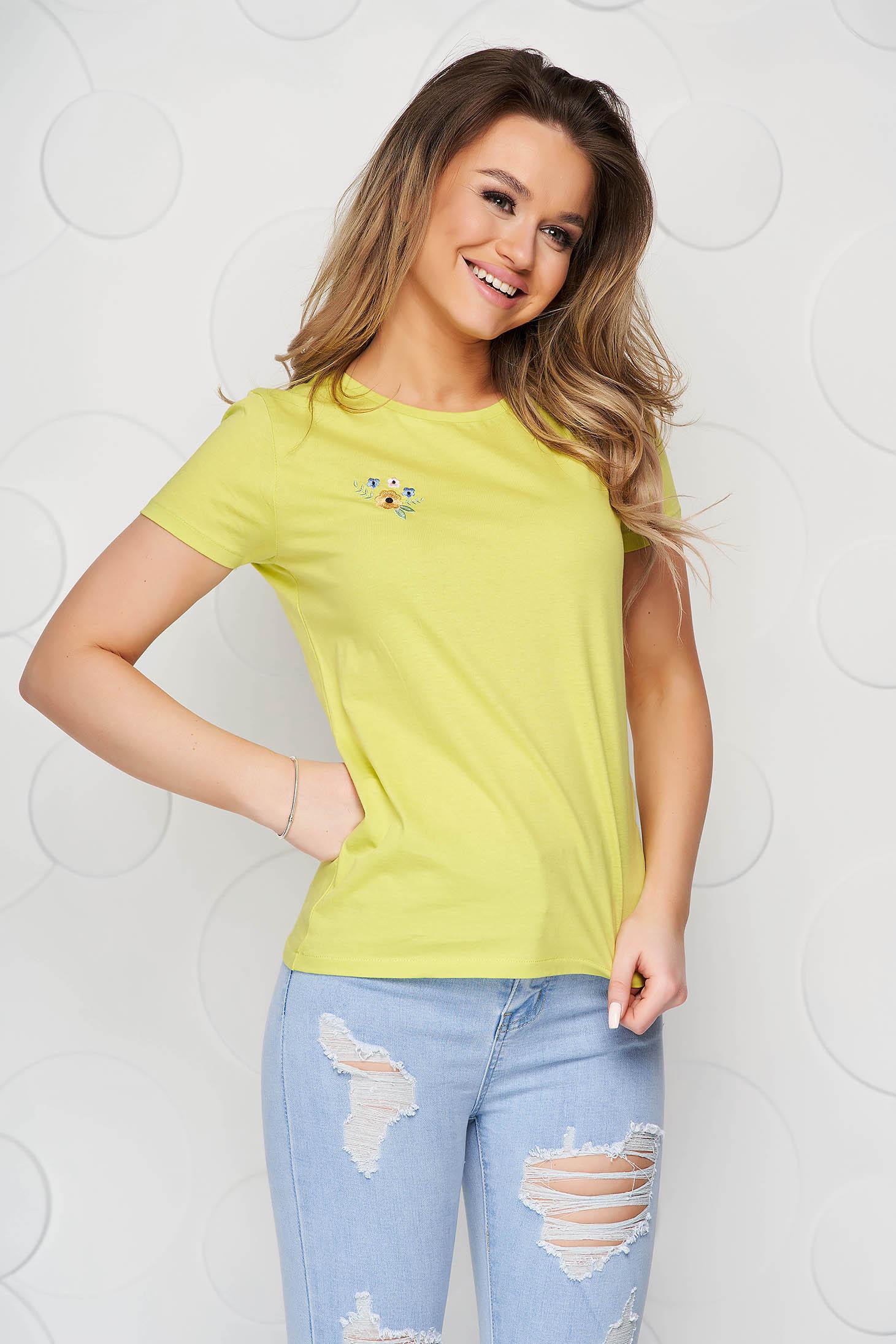 Tricou StarShinerS mint din bumbac organic cu croi larg si broderie florala unica