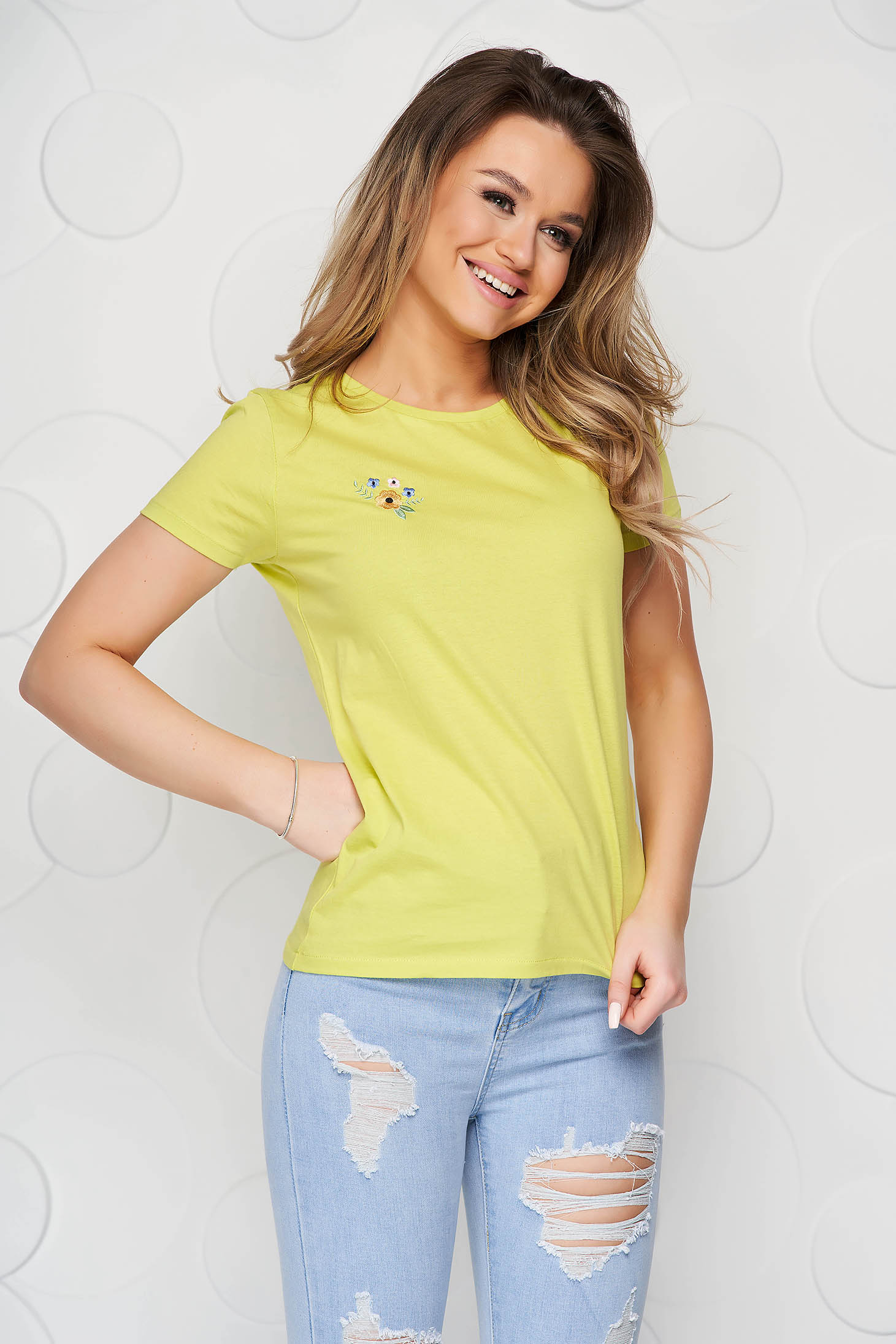 Yellow StarShinerS t-shirt cotton loose fit