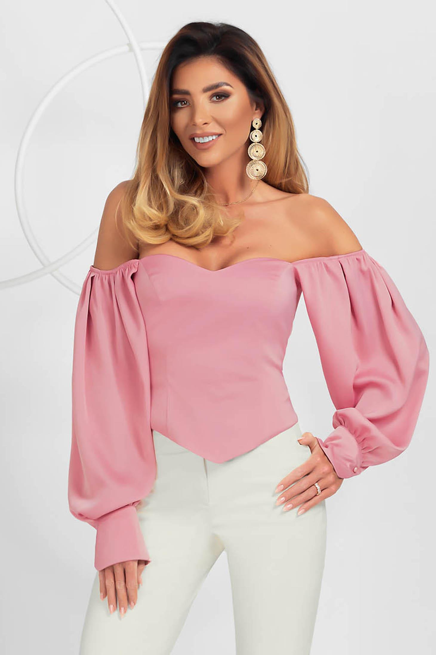 Bluza dama tip corset PrettyGirl roz prafuit eleganta din material satinat cu maneci bufante si umeri goi