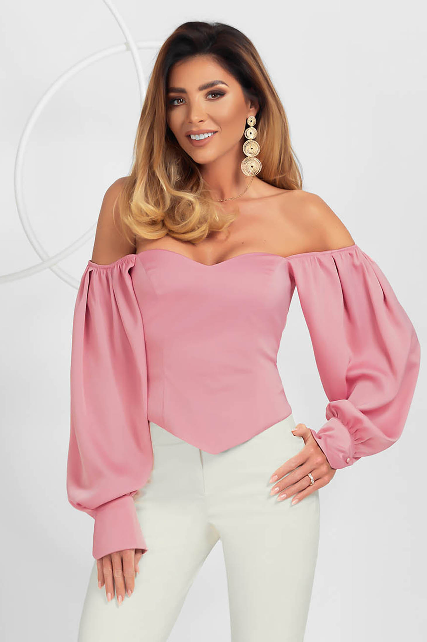 Lightpink women`s blouse elegant asymmetrical tented with puffed sleeves from satin fabric texture