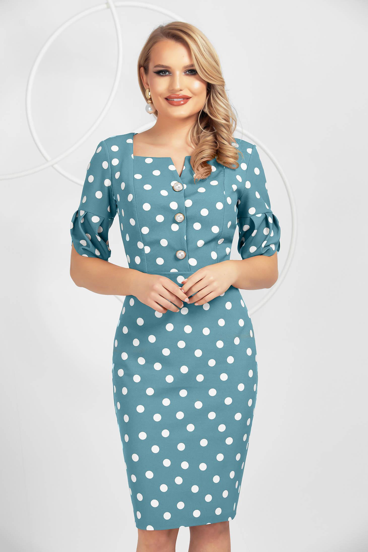 Turquoise slightly elastic fabric dots print dress midi pencil