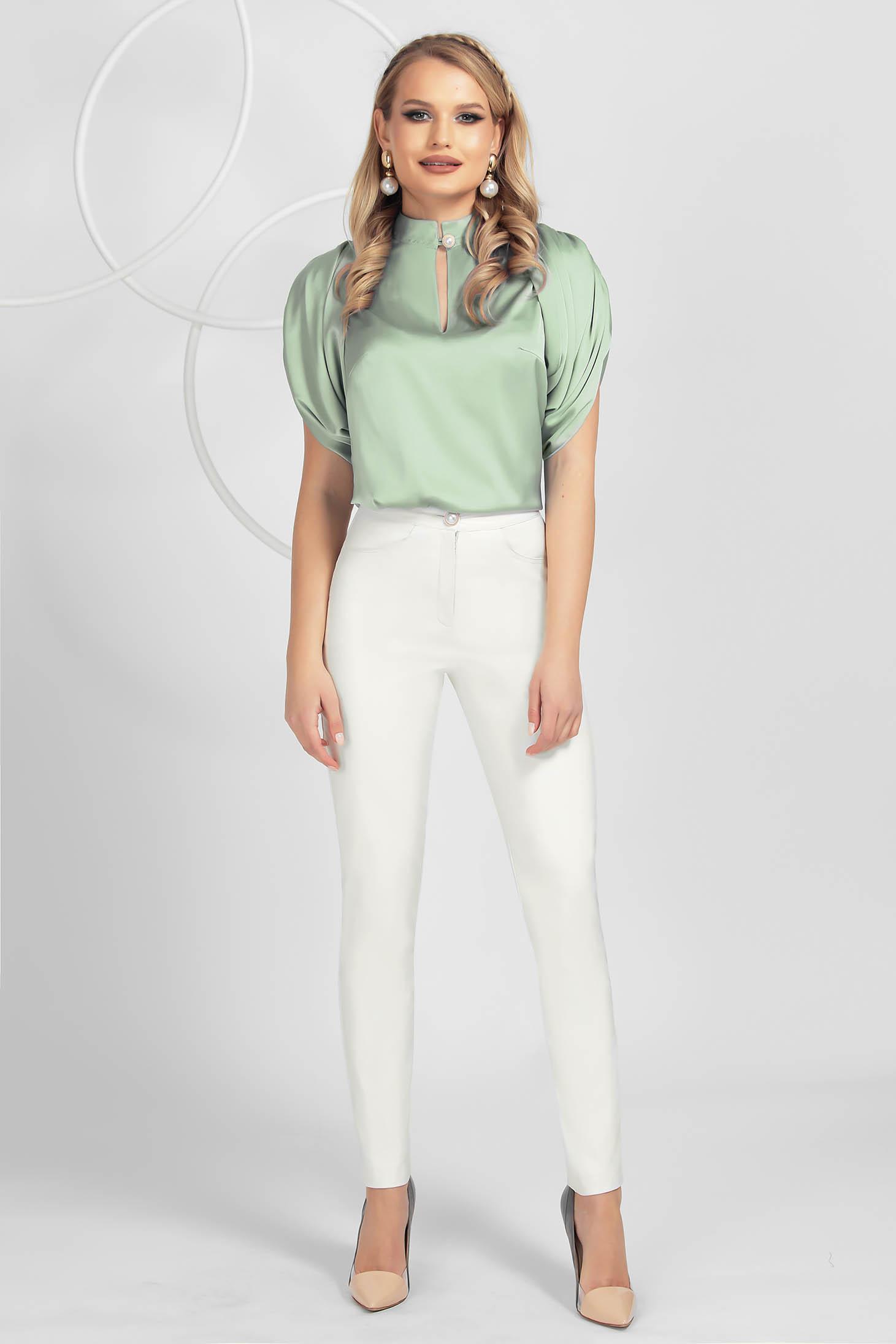 Pantaloni PrettyGirl ivoire office conici cu talie inalta