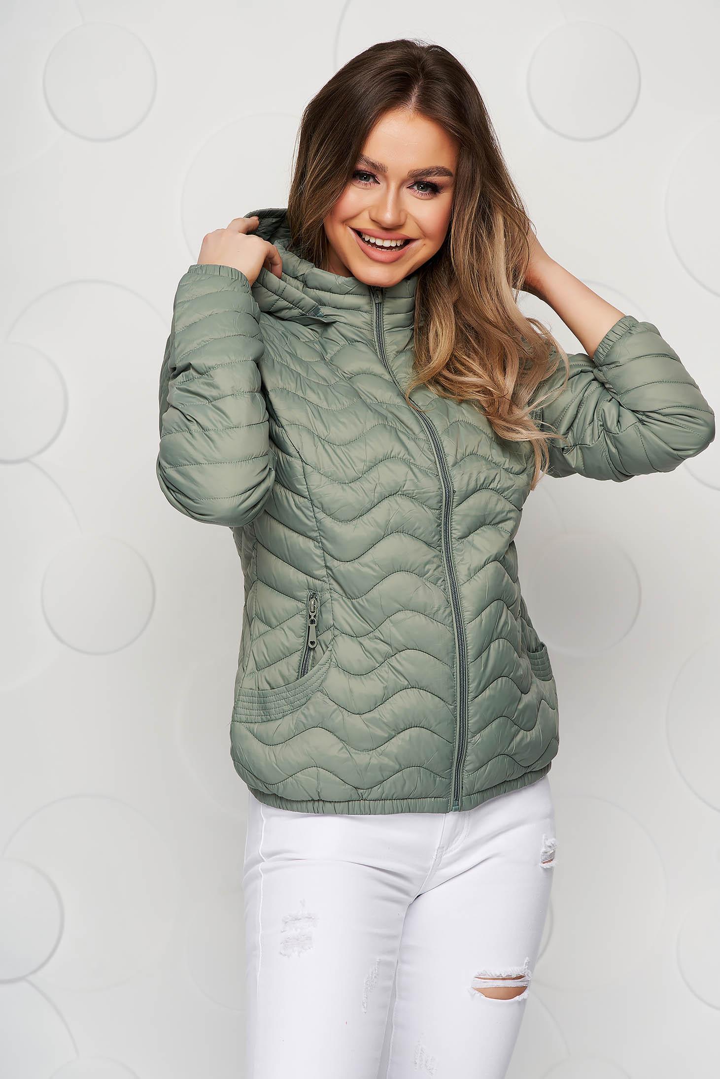 Lightgreen jacket tented from slicker thin fabric