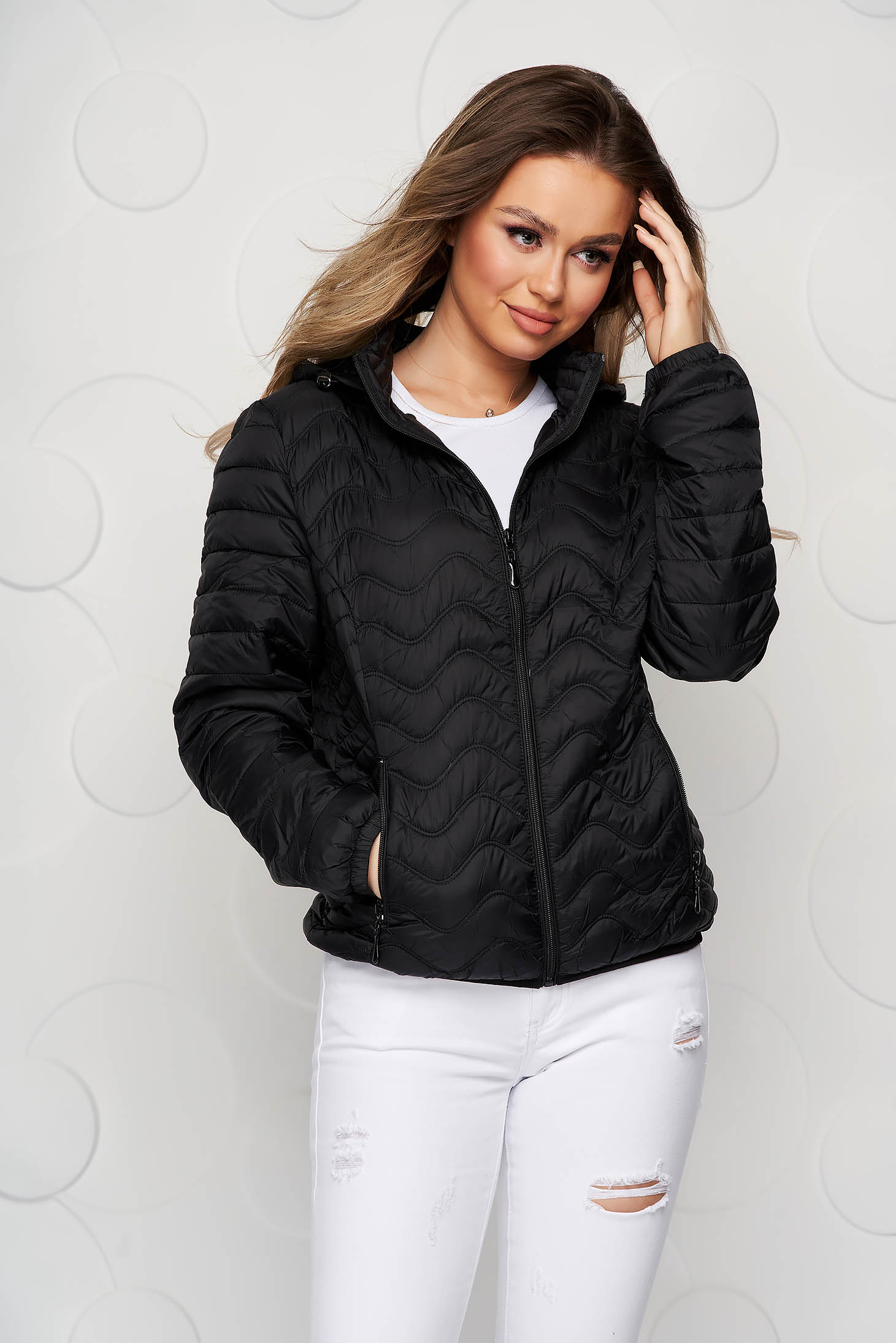 Black jacket tented from slicker sporty