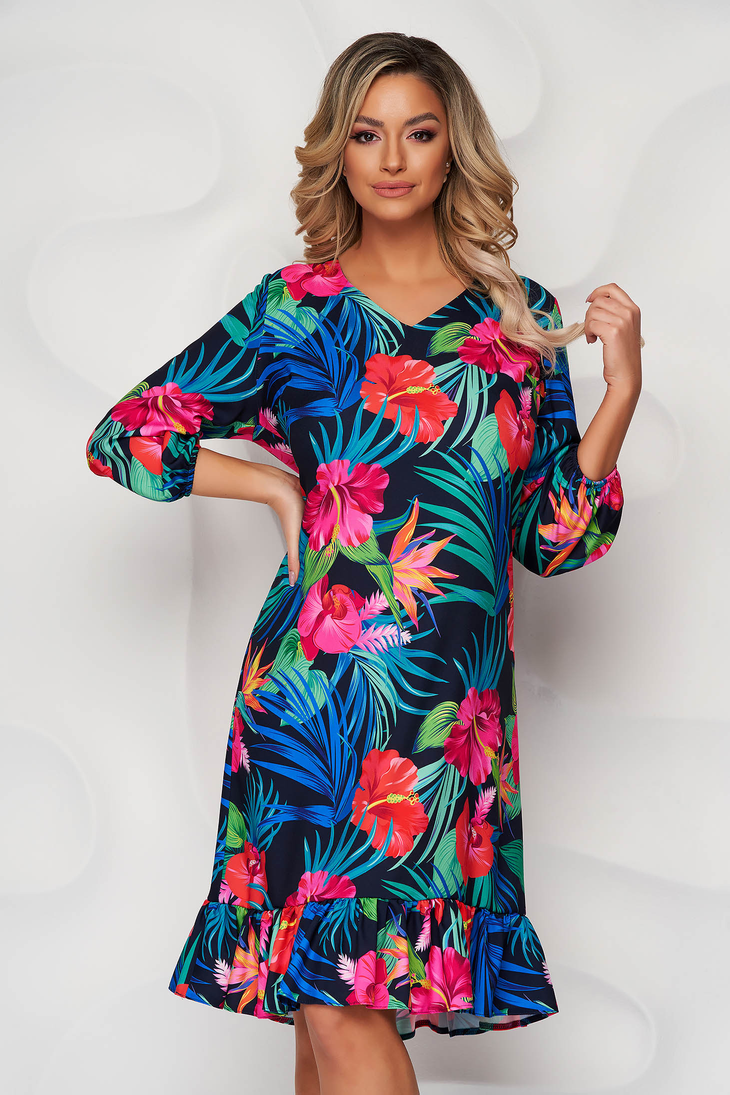 StarShinerS blue dress with floral print with ruffle details straight