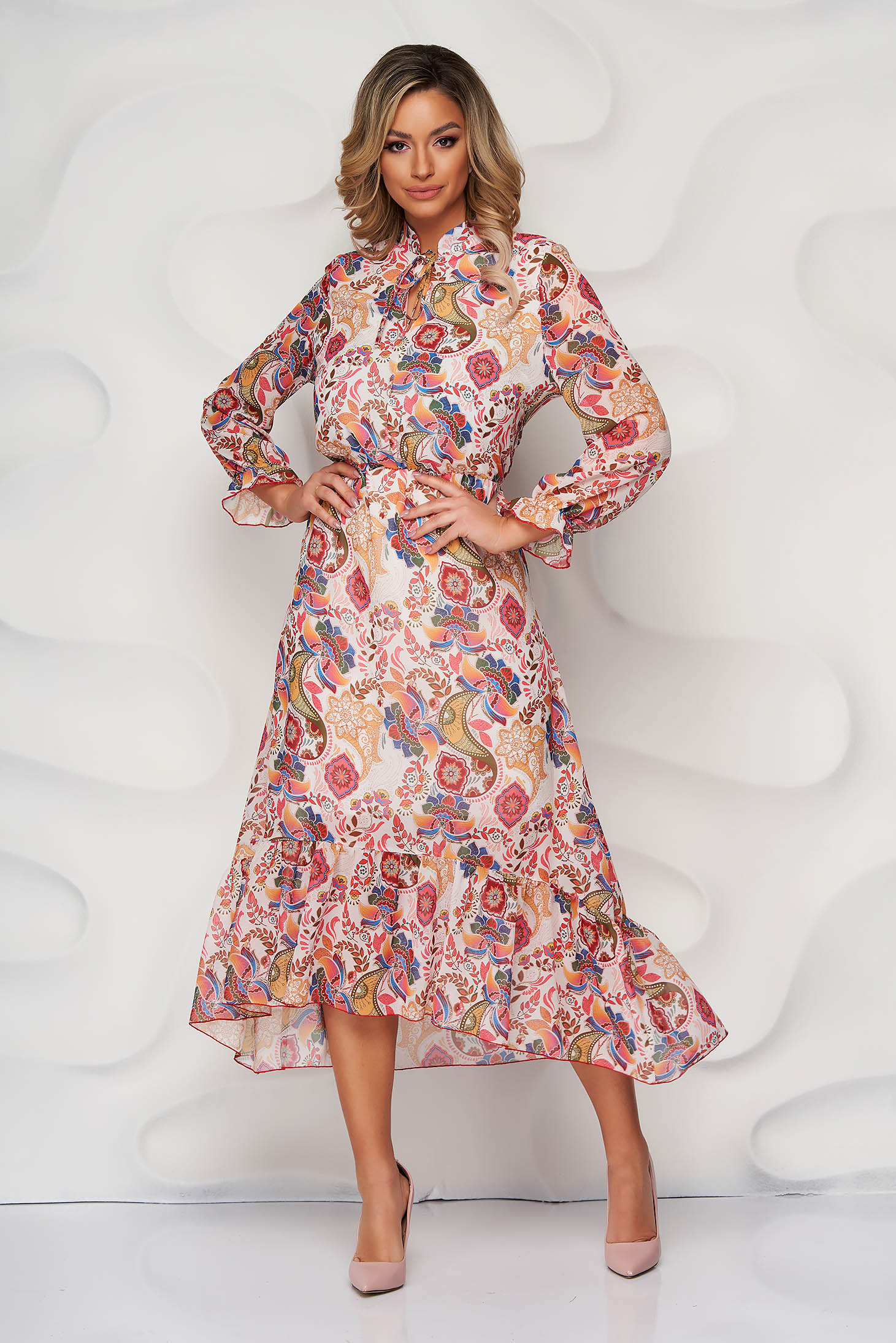 StarShinerS coral dress with floral print cloche with elastic waist with ruffle details