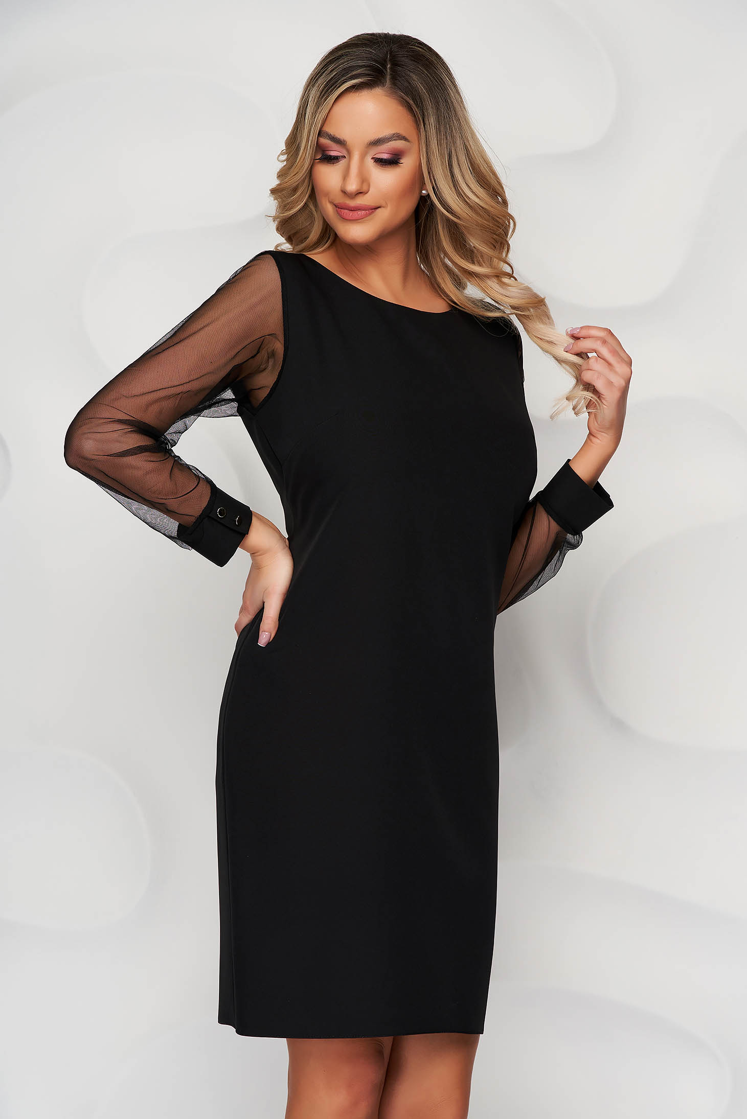 Black dress transparent sleeves with puffed sleeves straight from elastic fabric