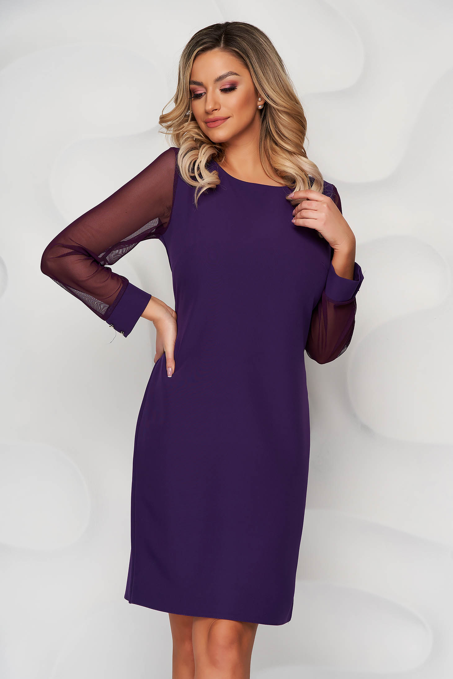 Purple dress transparent sleeves with puffed sleeves straight from elastic fabric