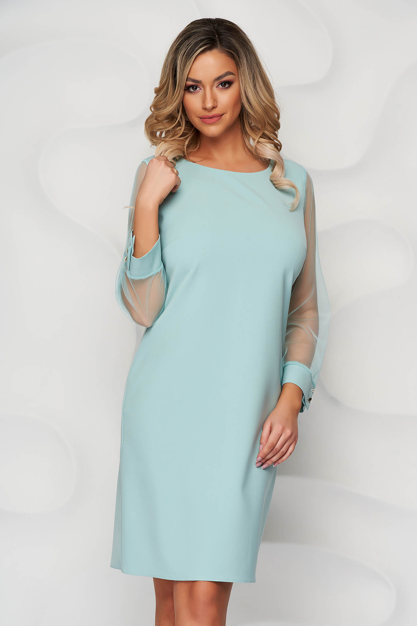 Mint dress transparent sleeves with puffed sleeves straight from elastic fabric