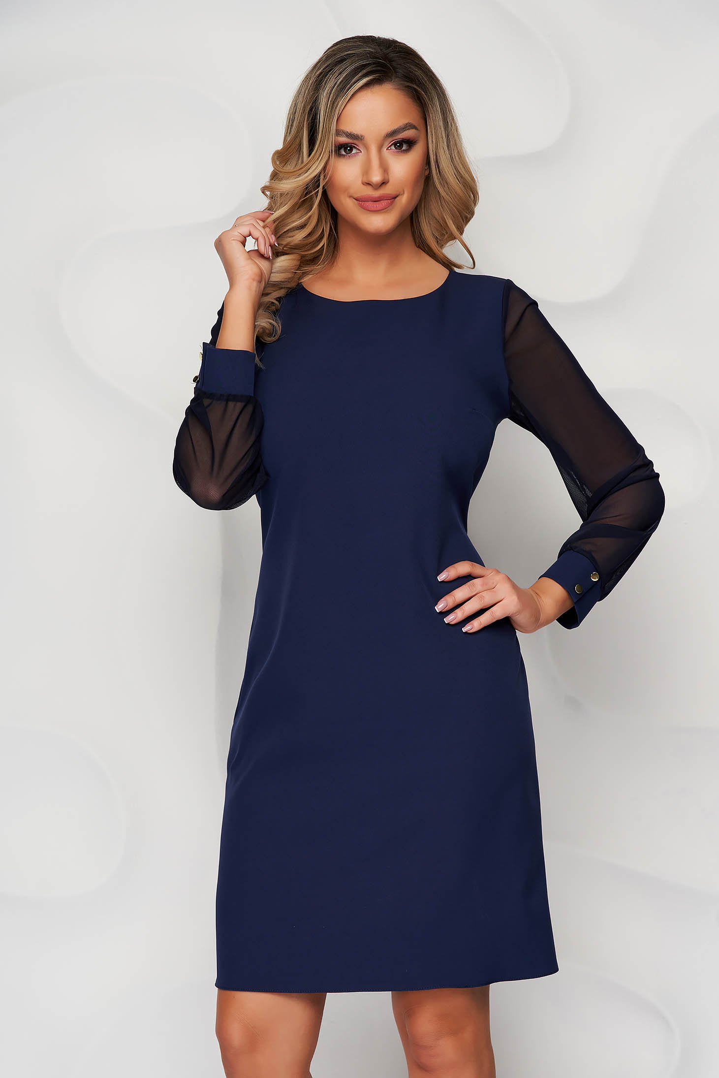 Darkblue dress transparent sleeves with puffed sleeves straight from elastic fabric